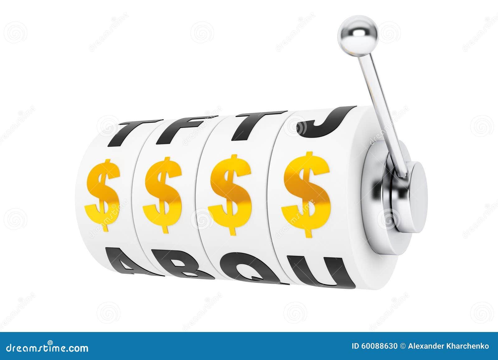Les symboles dollar aligne pour un gros lot sur des roues d une machine à sous