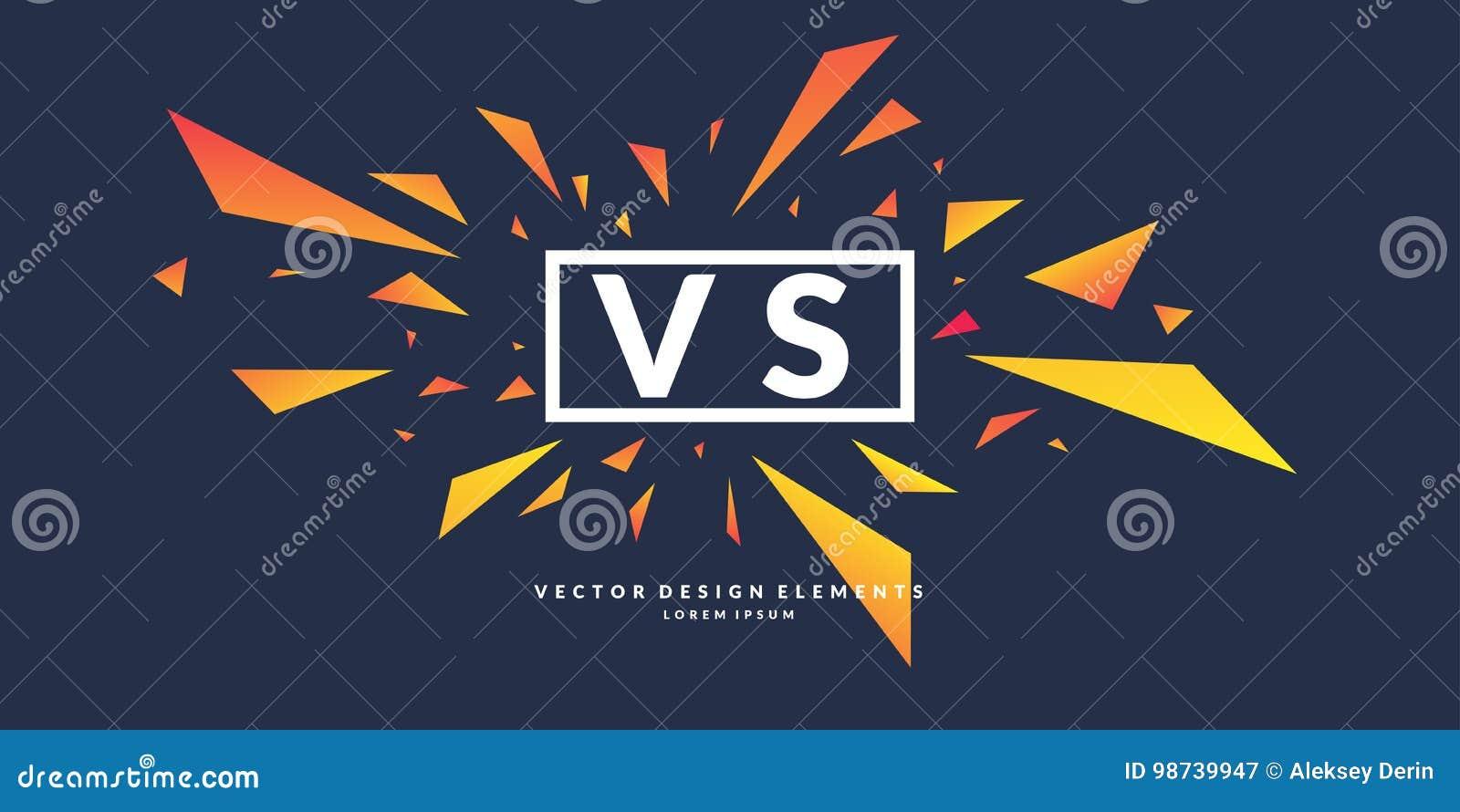Les symboles lumineux d affiche de la confrontation CONTRE, peuvent être le même logo Illustration de vecteur