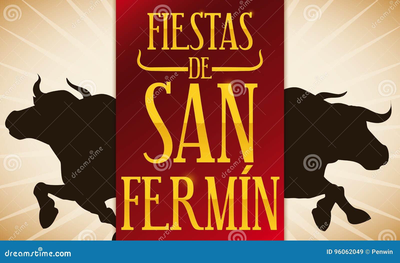 Les taureaux silhouettent et label rouge pour l Espagnol San Fermin Celebration, illustration de vecteur