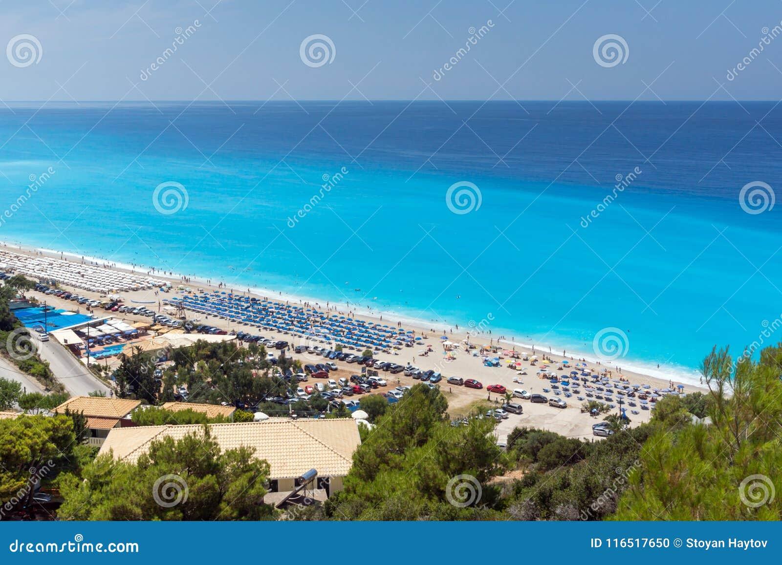 Les touristes visitant Kathisma échouent, Leucade, îles ioniennes, Grèce