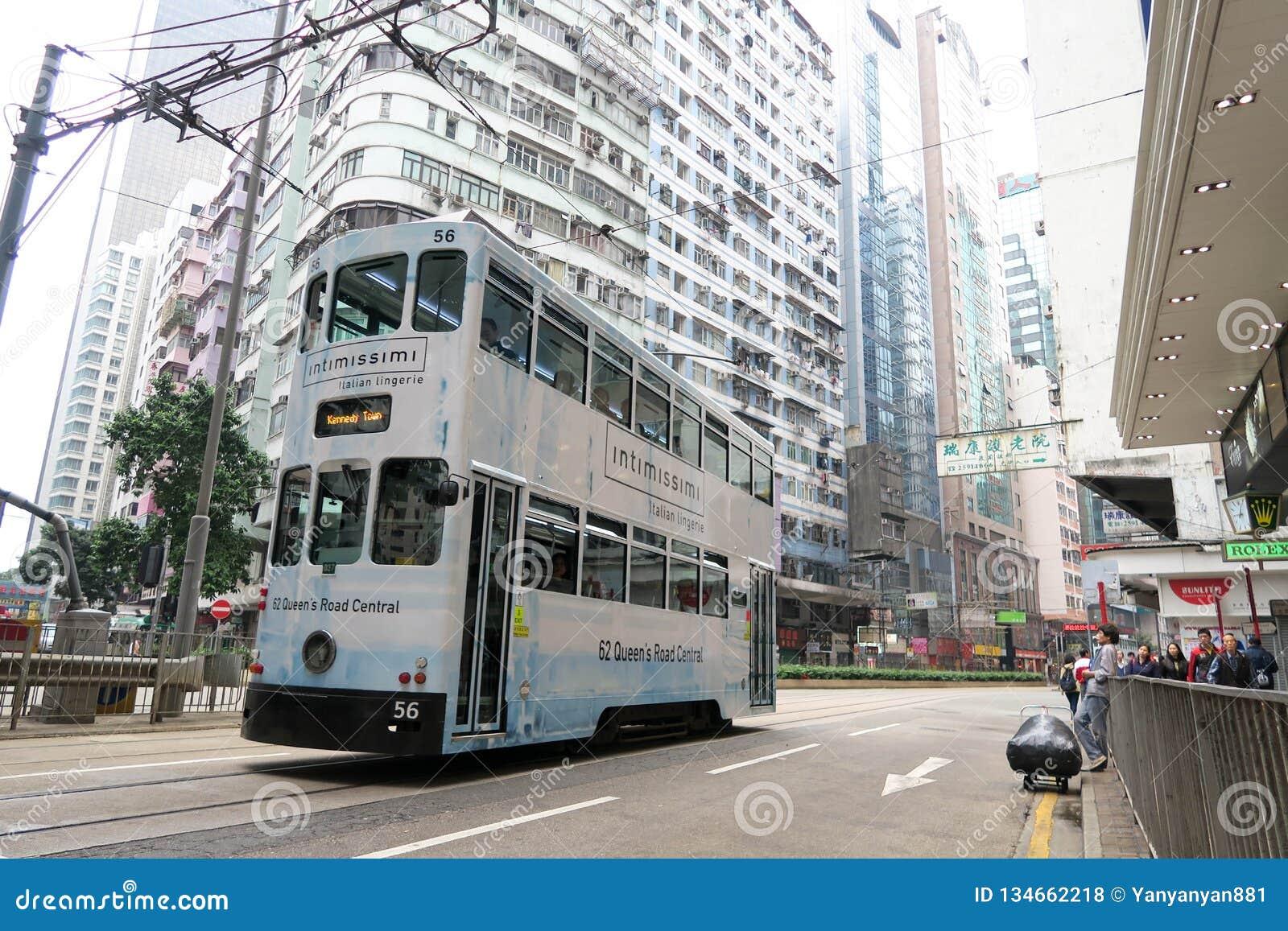 Les trams d autobus à impériale est attraction touristique en Hong Kong