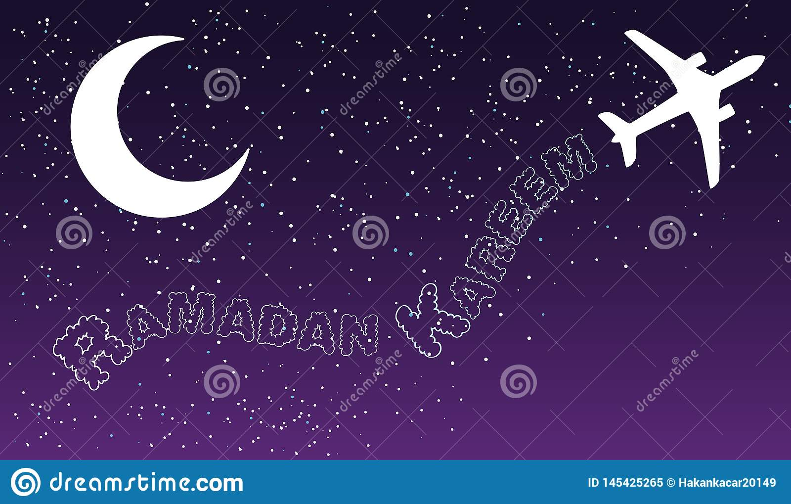 Les transports aériens d air de la nuit de ciel opacifient la conception de salutation islamique de kareem de Ramadan