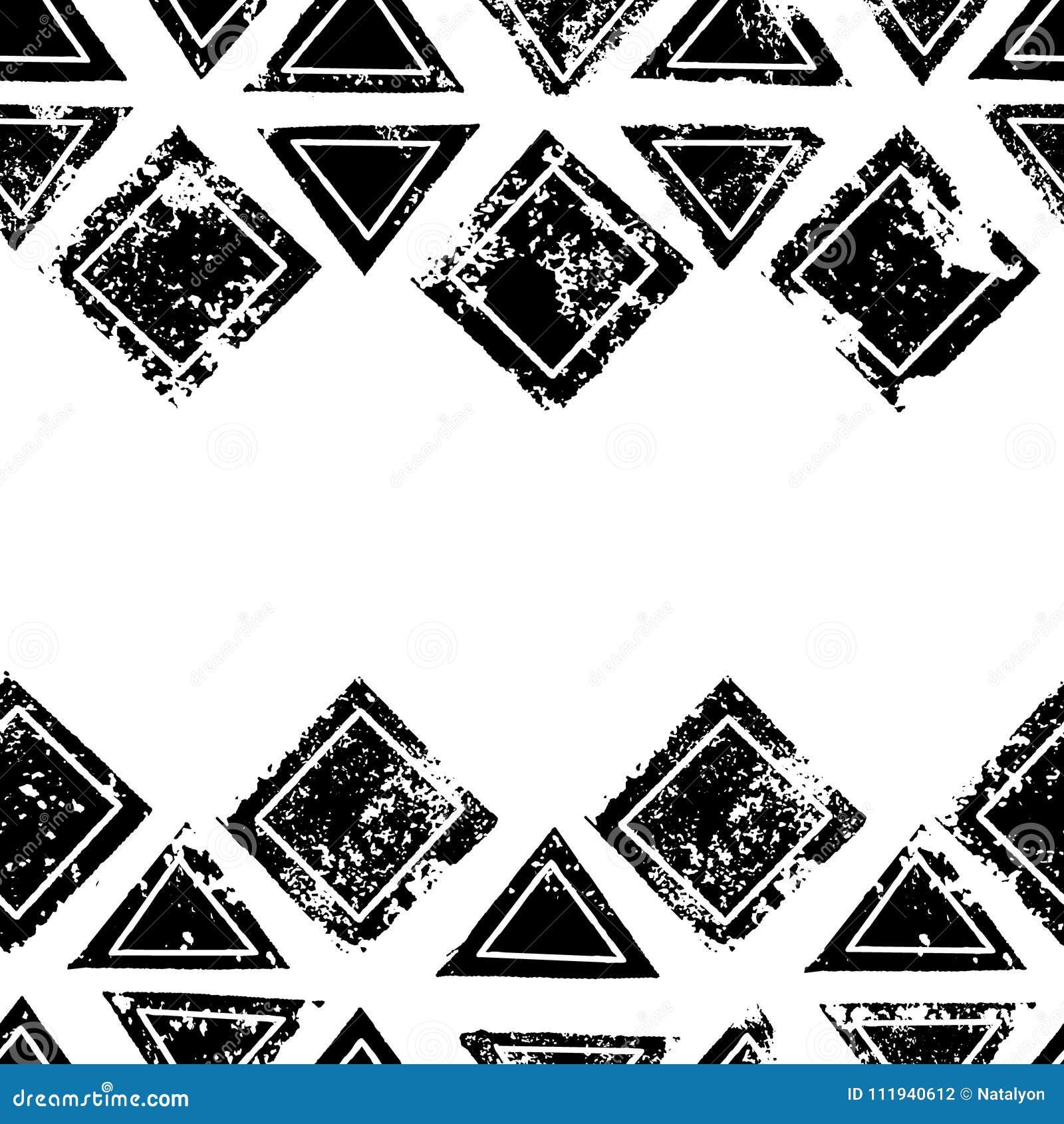 Les triangles et les places noires et blanches ont vieilli la frontière sans couture grunge ethnique géométrique, vecteur
