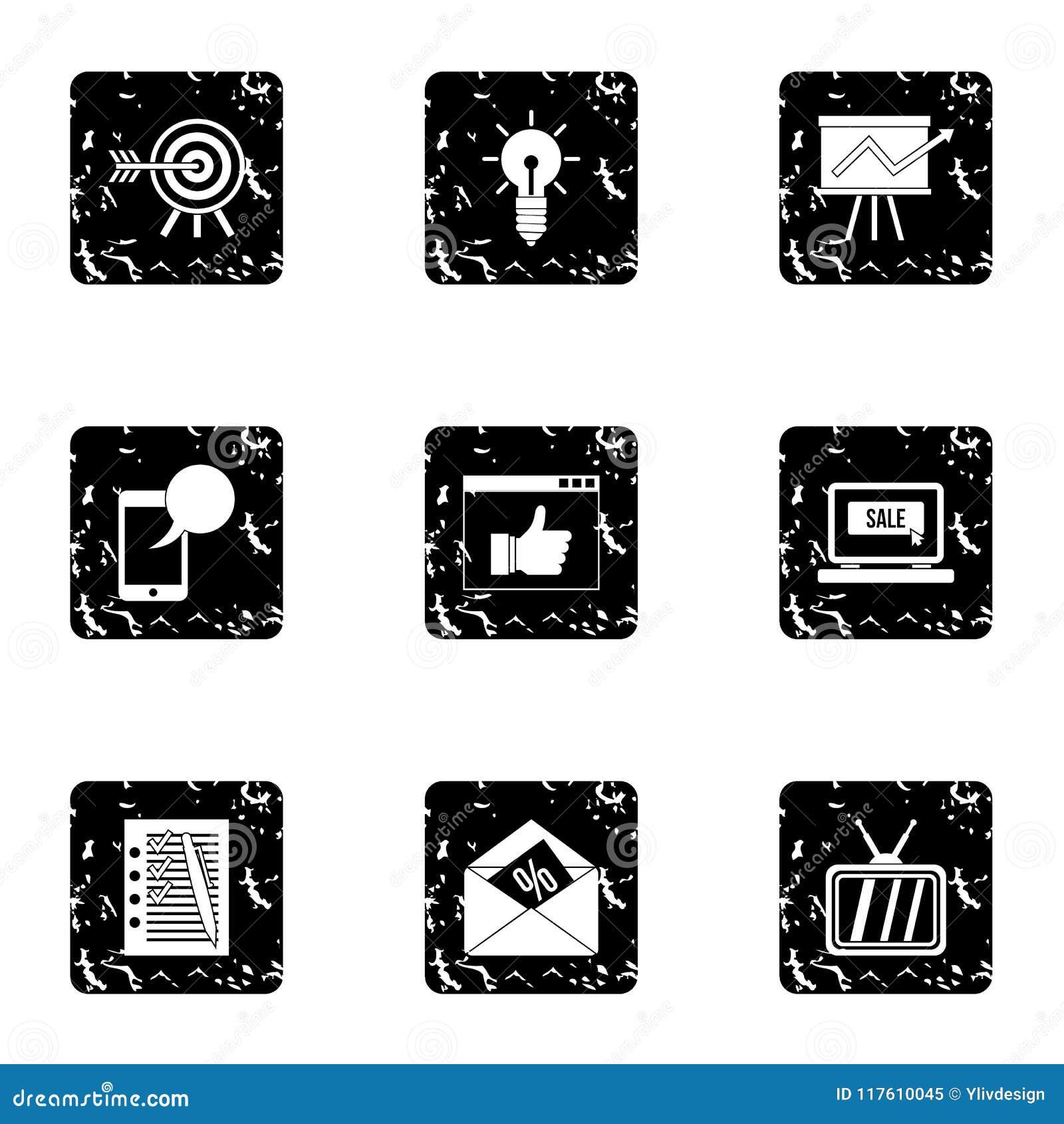 Les types d icônes de la publicité ont placé, style grunge
