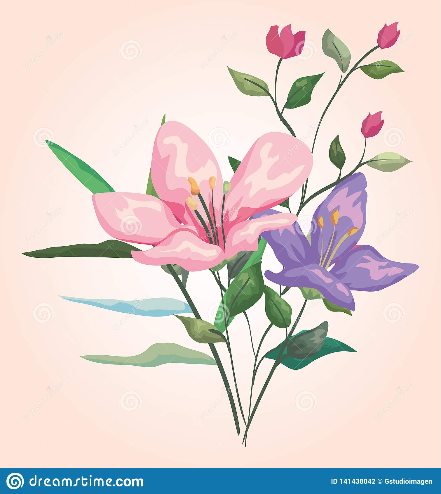 Les usines de fleurs avec les branches exotiques part de la conception