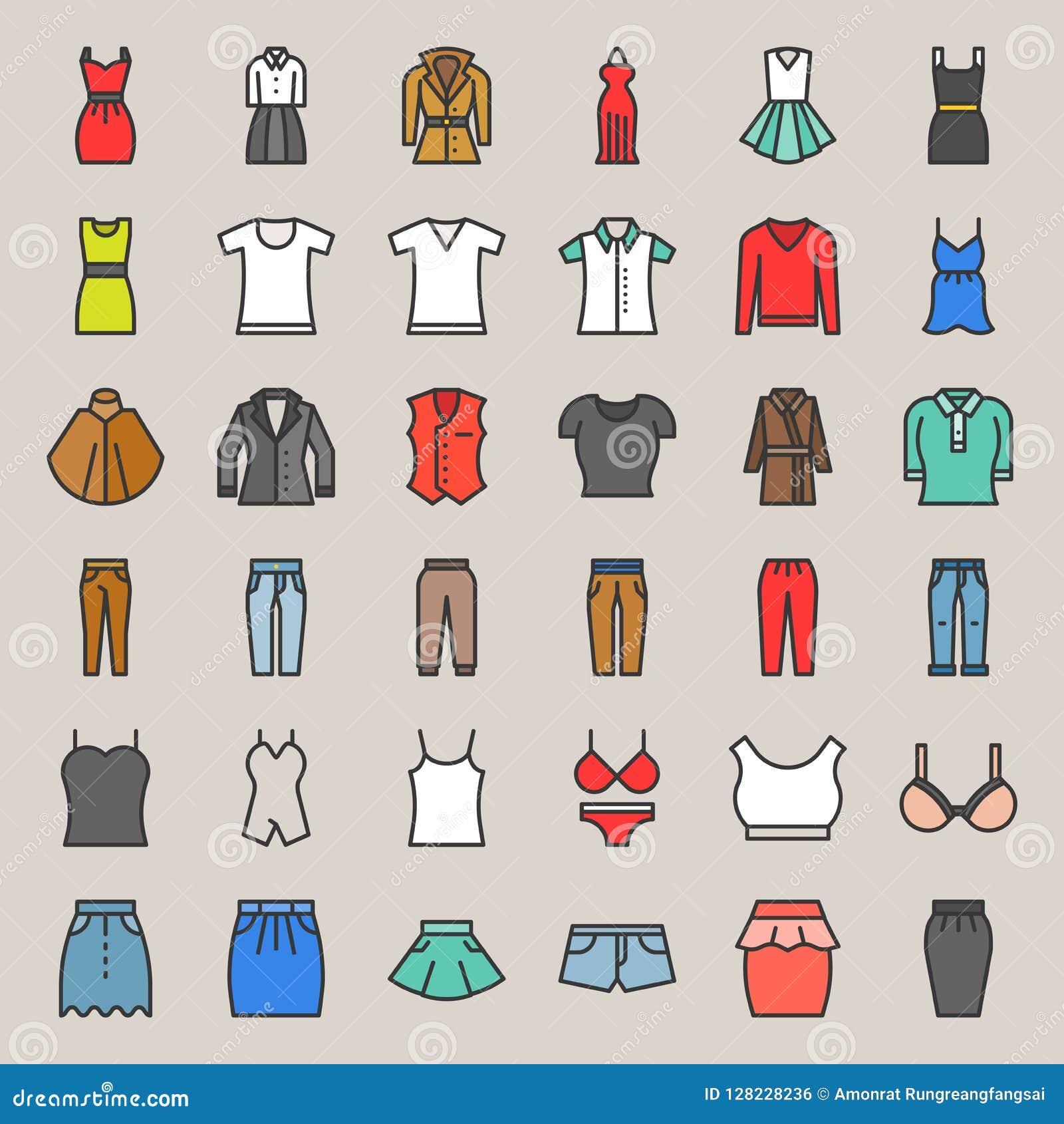 Les vêtements, le sac, les chaussures et les accessoires femelles ont rempli icône s d ensemble