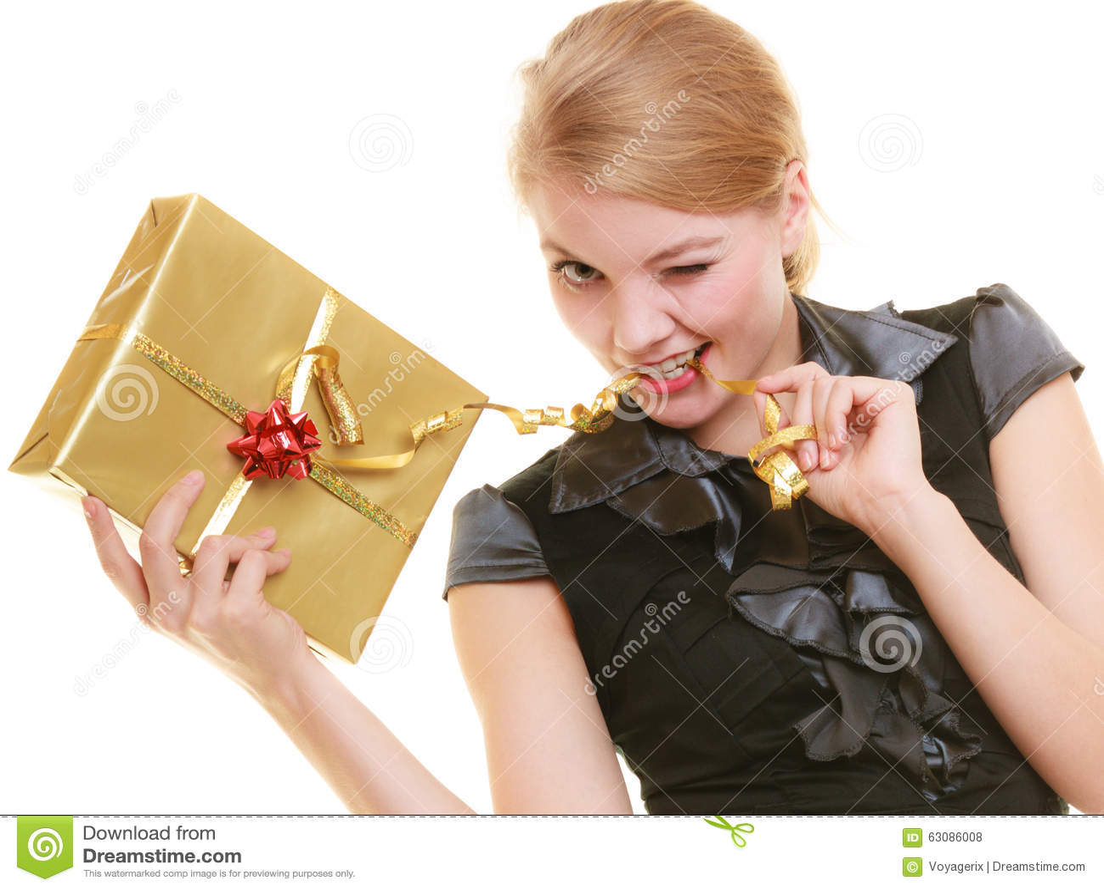 Download Les Vacances Aiment Le Concept De Bonheur - Fille Avec Le Boîte-cadeau Photo stock - Image du passionnant, donner: 63086008