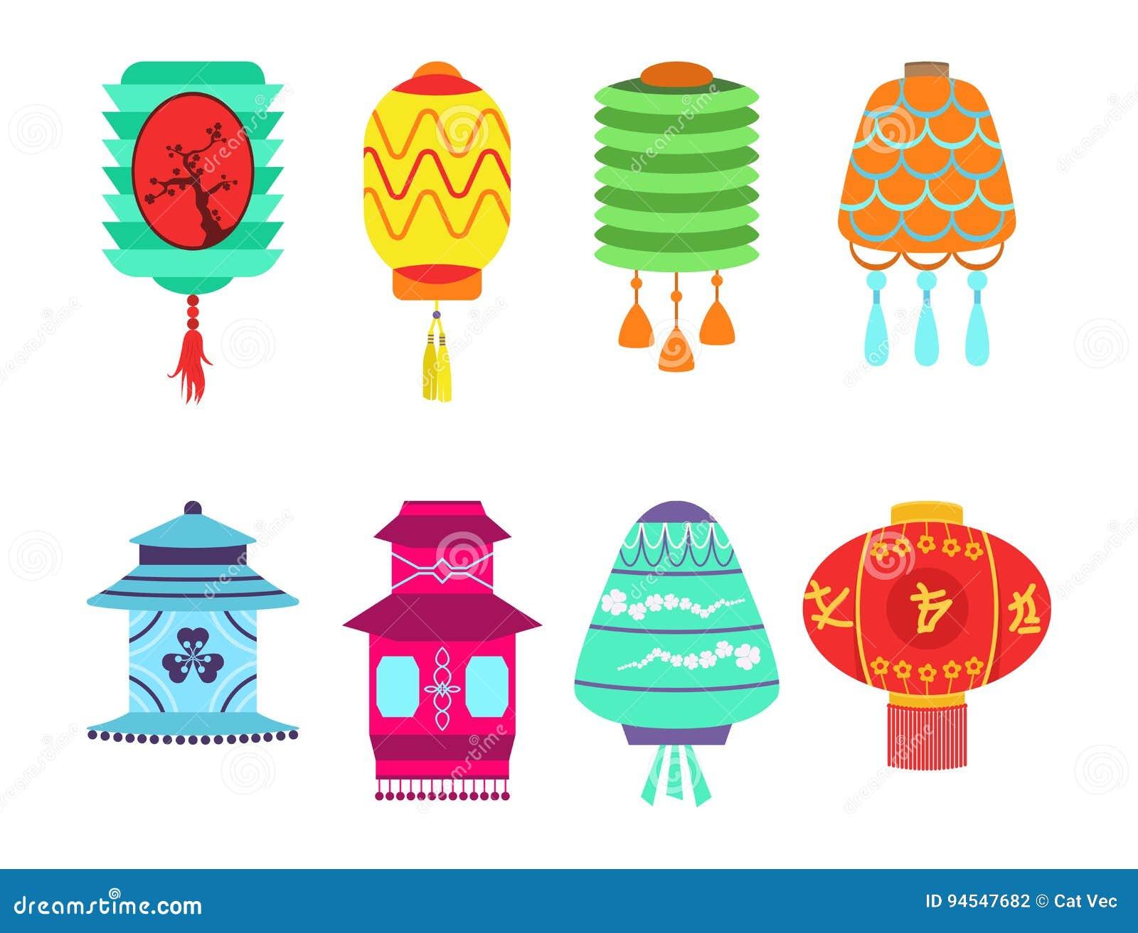 Les vacances de papier réglées de lanterne de vecteur chinois de collection célèbrent le signe chinois graphique de célébration