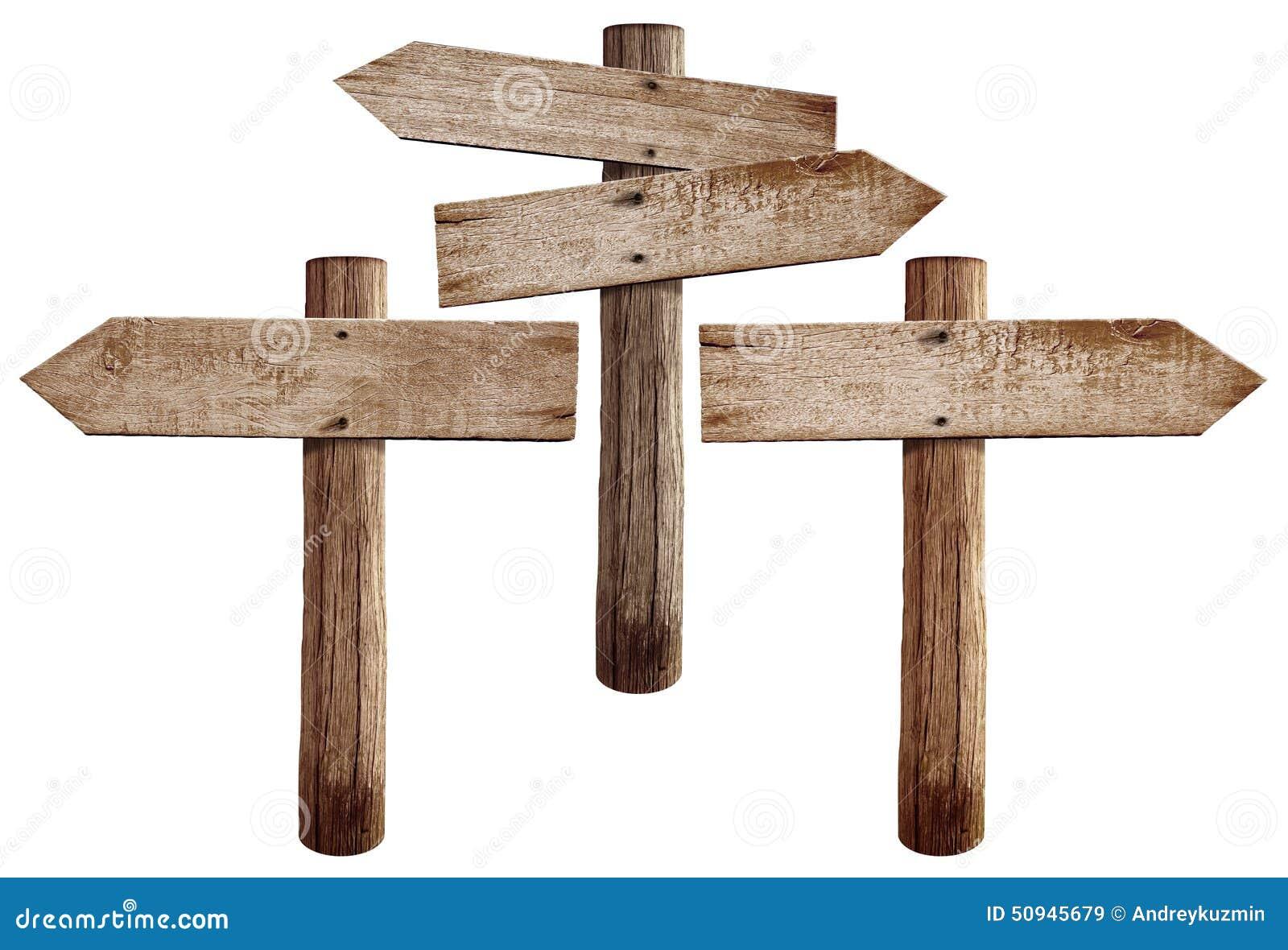 Les vieux panneaux routiers en bois redressent gauche et for Acheter planche de bois