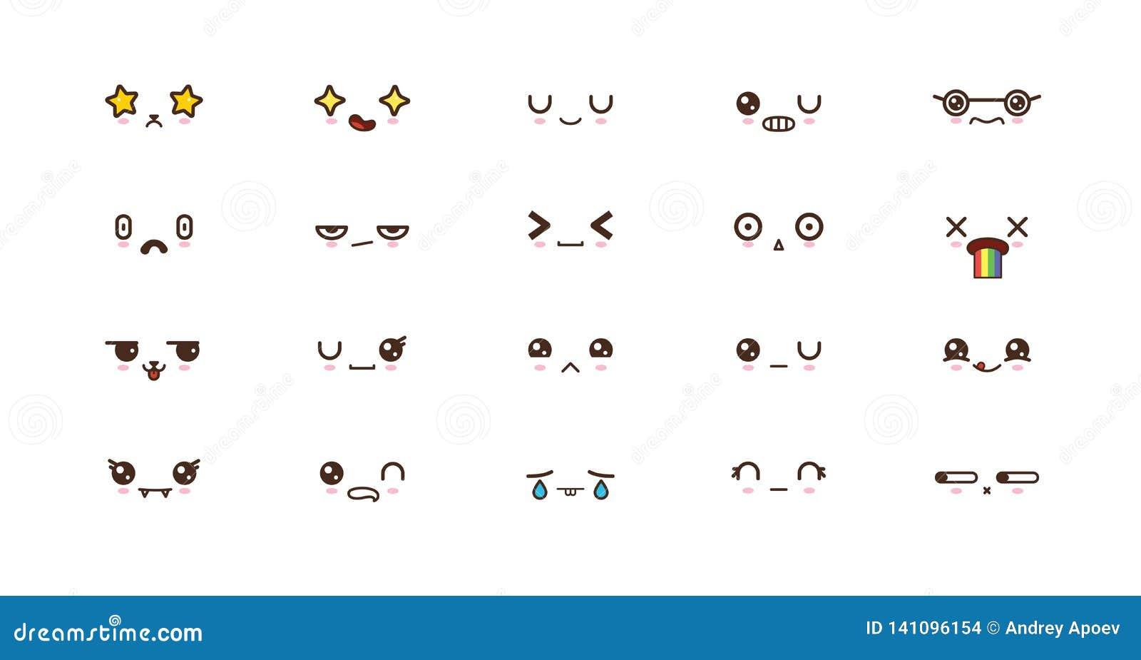 Les Visages Mignons De Kawaii Sourient Des Emoticones Emoji Japonais Illustration De Vecteur Illustration Du Visages Emoticones 141096154