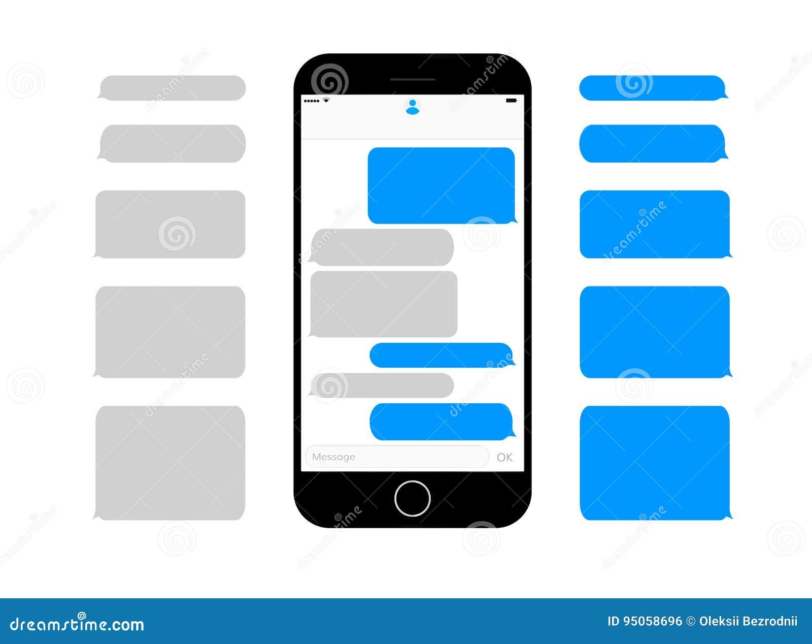 Les zones de texte de transmission de messages d écran de téléphone portable vident des bulles