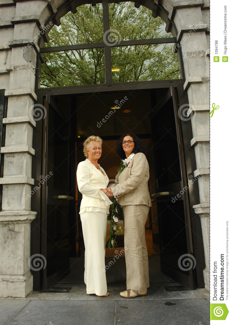 Lesbian Brides In Front Of Town Hall Stock Photo - Image 1094788-4027