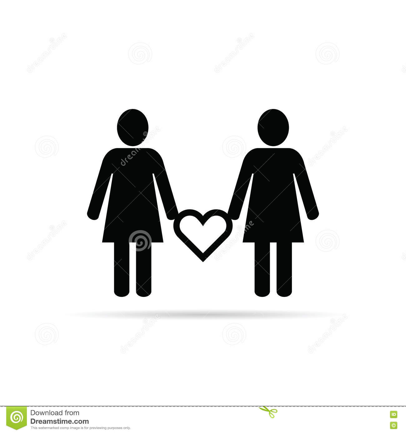 lesbian wedding coloring pages | Lesbian Couple Icon With Heart Set Illustration In Black ...