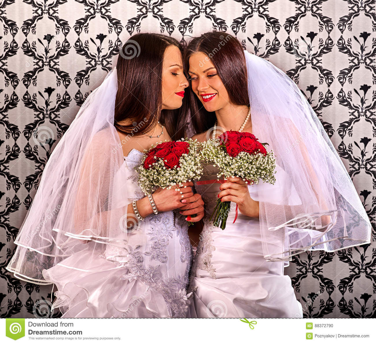 Kissing Wallpaper: Lesbian Couples Stock Images