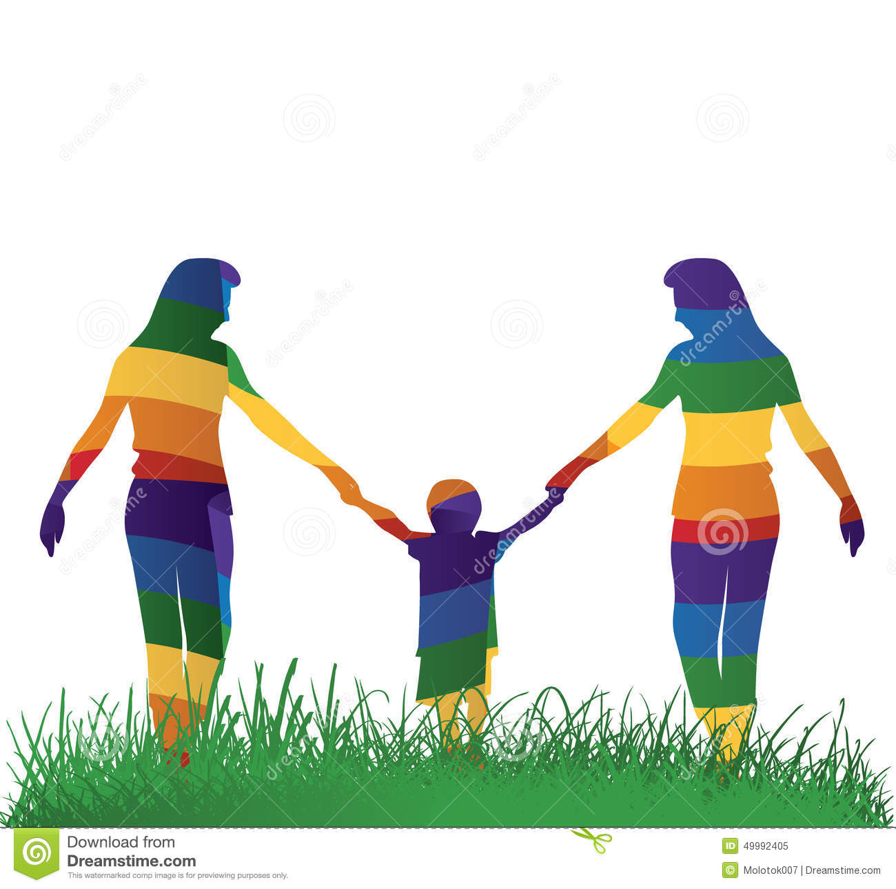 Lesbian Parents Walking With Their Kid Stock Vector - Image: 49992405
