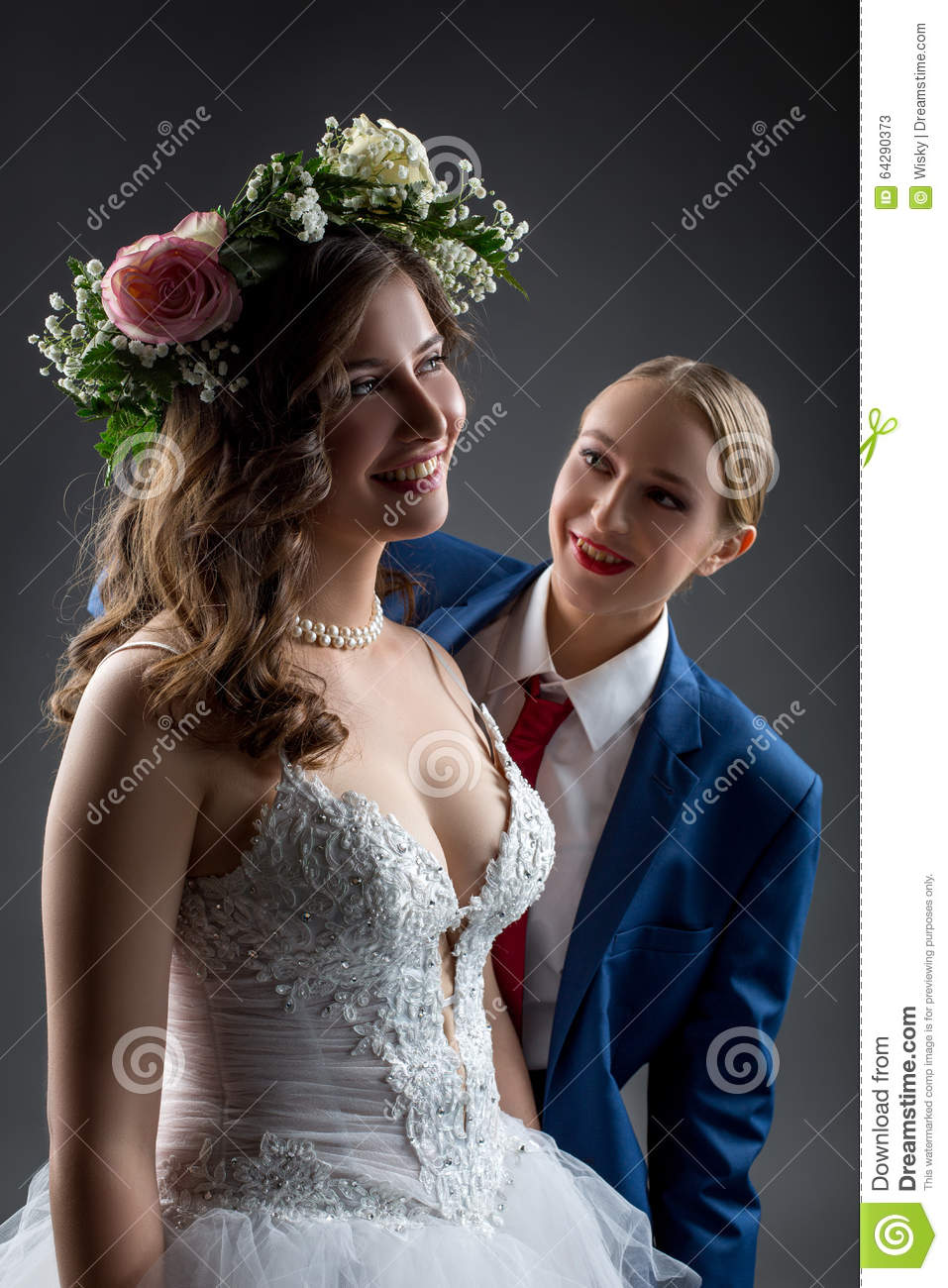 image Lesbian bride and groom strapon fuck