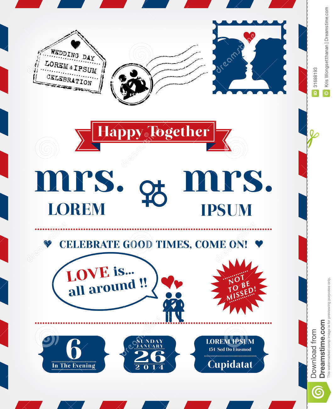 Lesbian Wedding Invitation Template in Postcard and Air mail style.