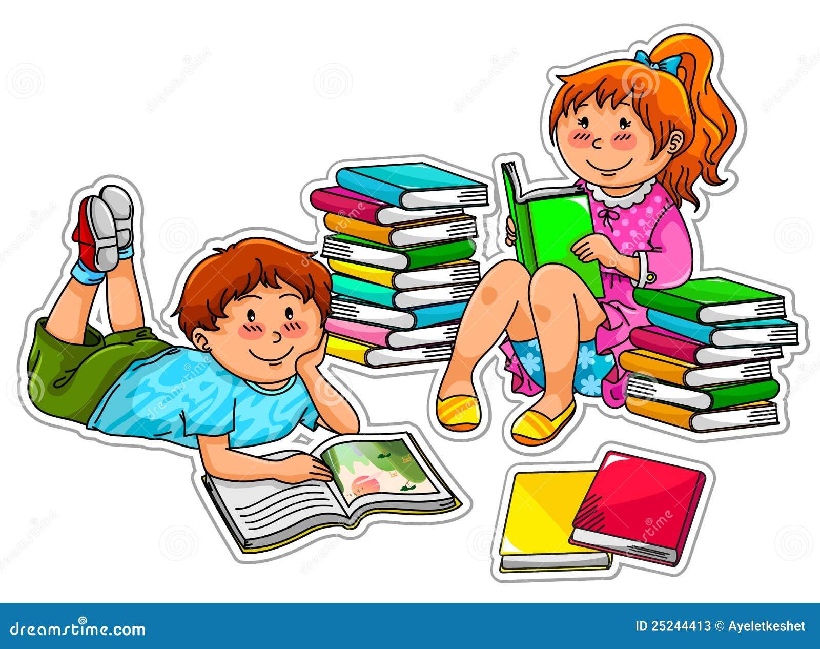 Bücherei clipart  Lesekinder Stockfotos - Bild: 25244413