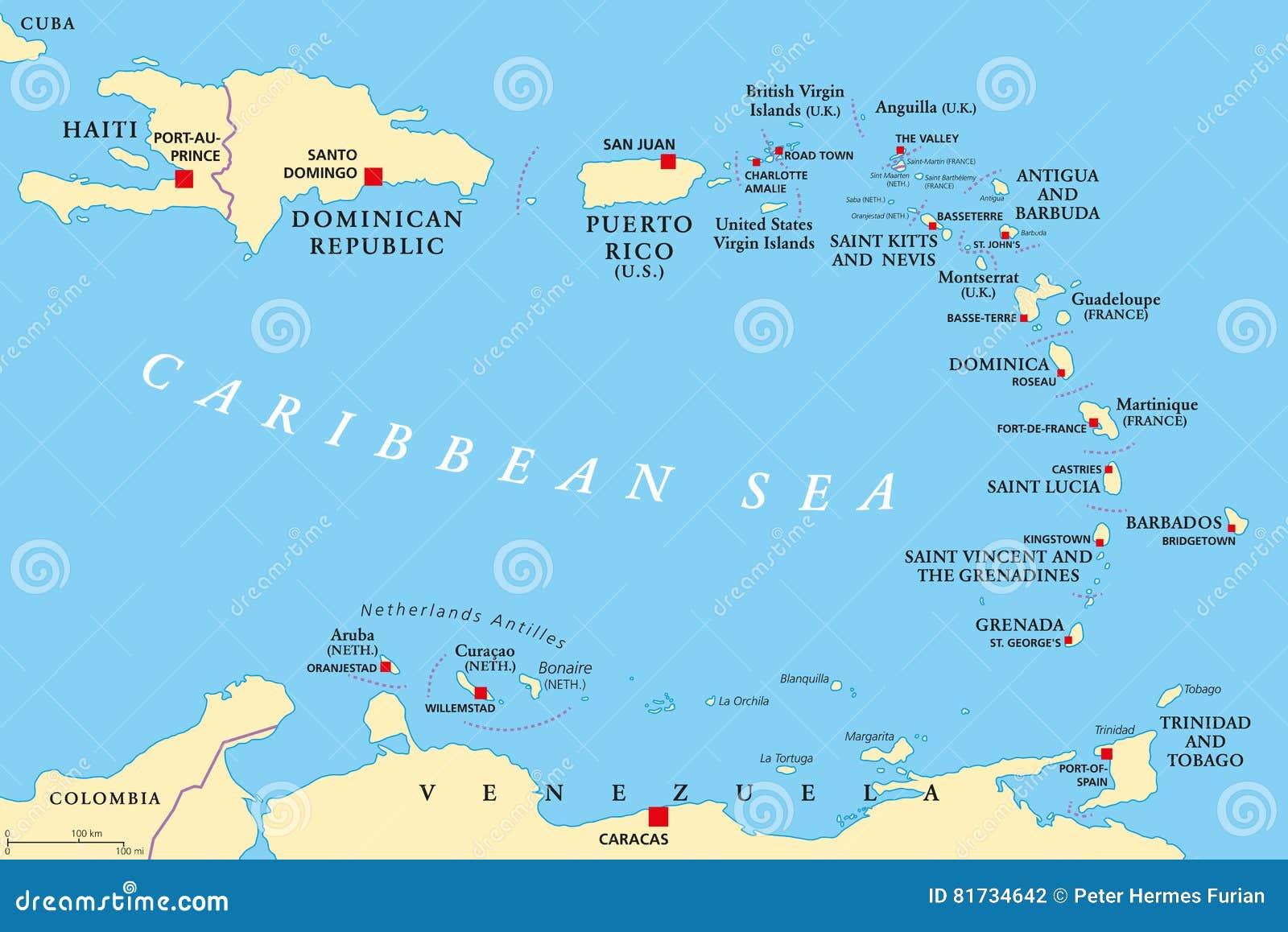 Lesser Antilles Political Map Stock Vector Illustration Of
