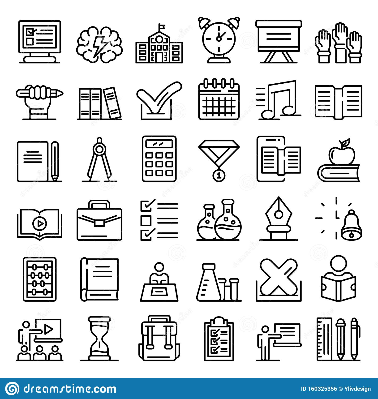 Lesson Icons Set, Outline Style Stock Vector ...