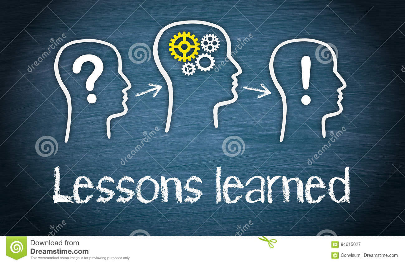 lessons learned education and knowledge concept stock