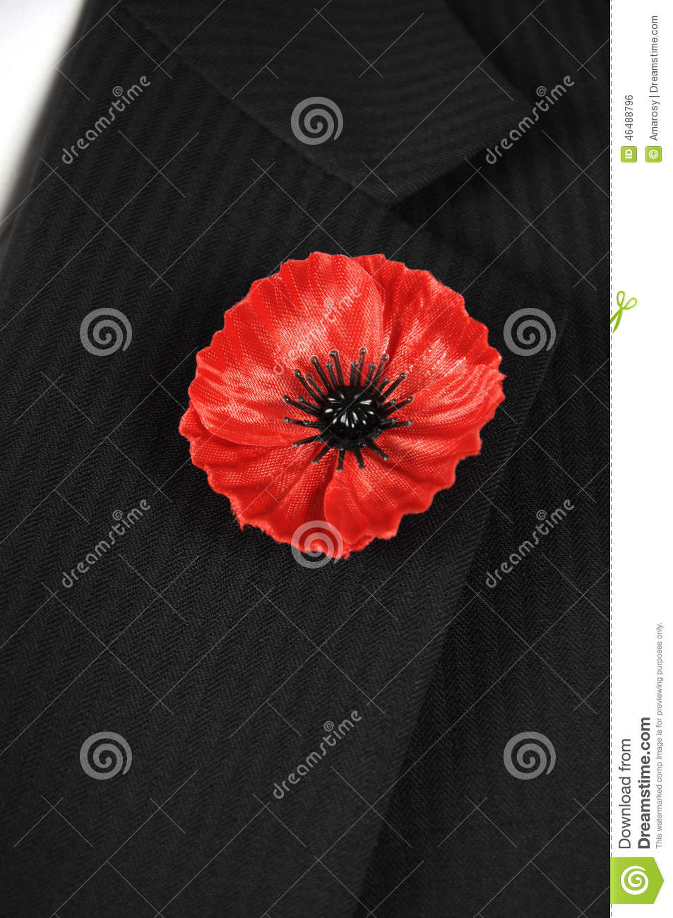 Lest We Forget Red Poppy Lapel Pin Badge On Black Suit Vertical