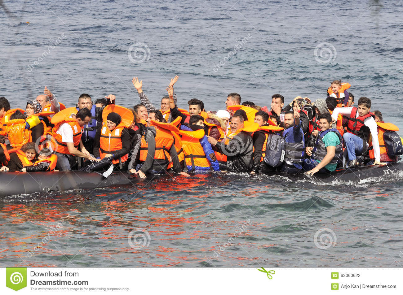 LESVOS, GREECE october 20, 2015: Refugees arriving in Greece in dingy boat from Turkey.