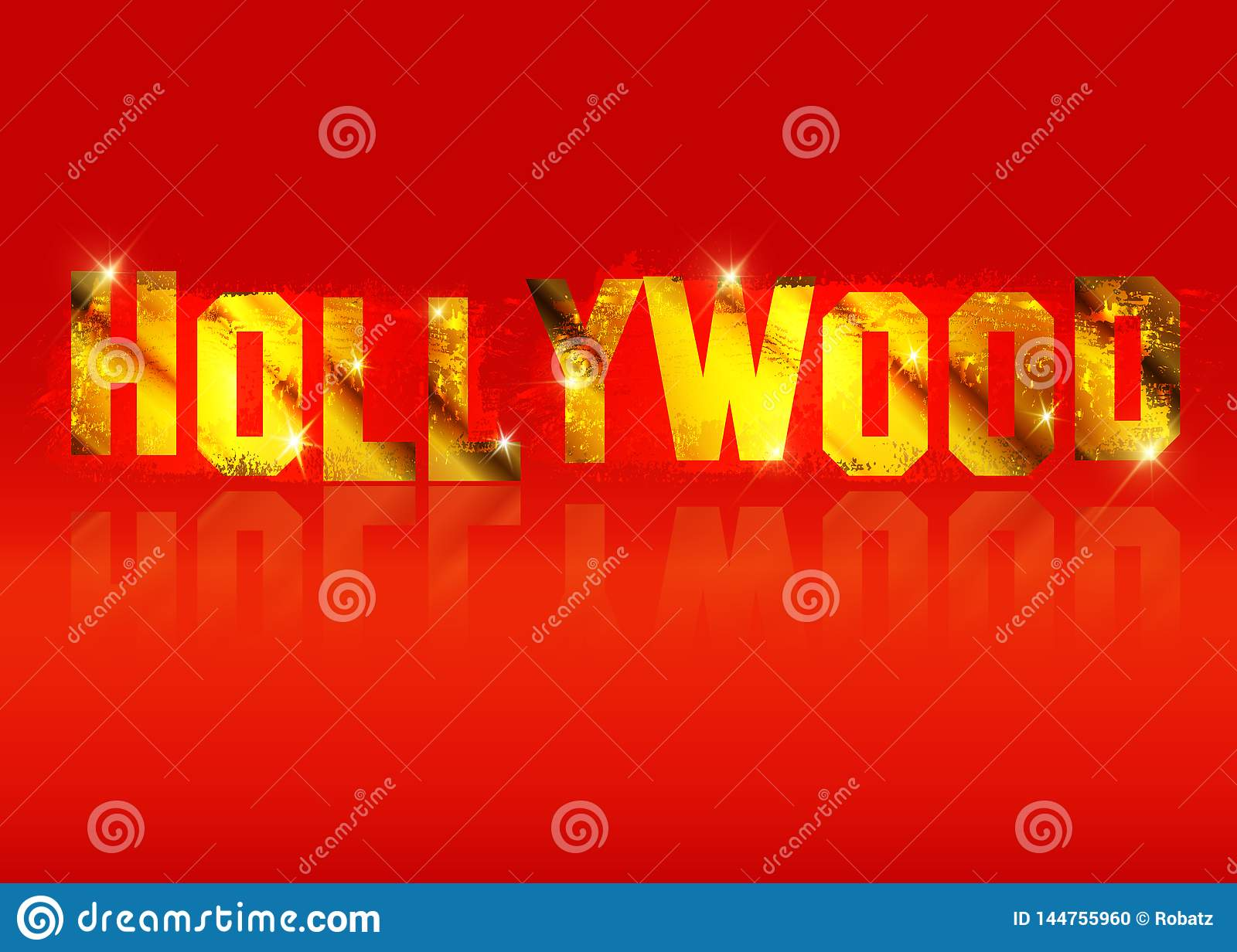 Hollywood old golden vector logo , gold letters isolated or red background