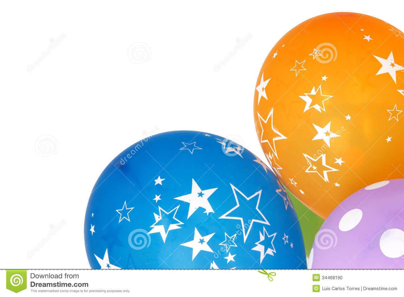 Ballons for celebrations isolated on white background from right side.