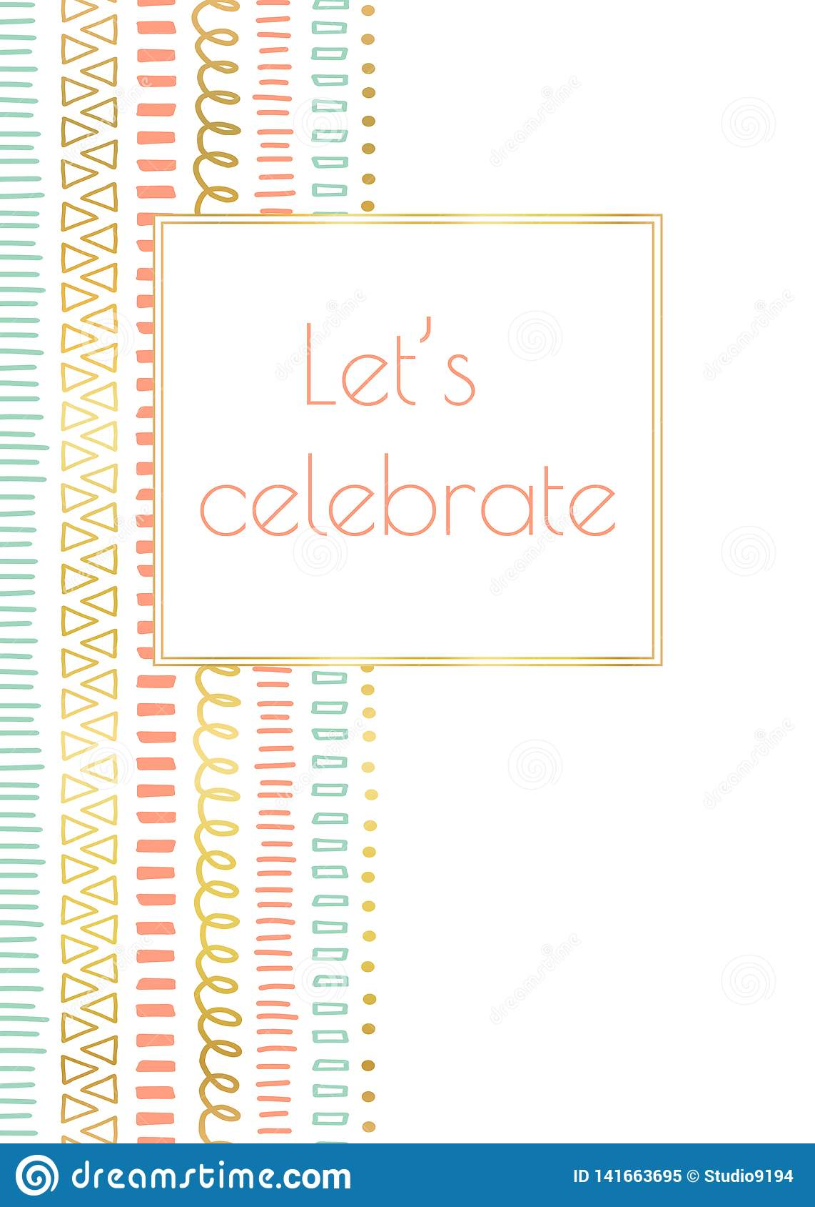 Let`s celebrate invitation doodle card vector