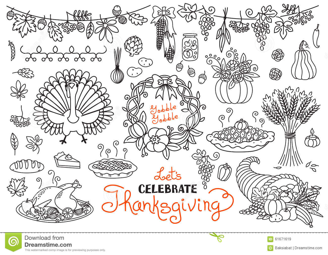 Thanksgiving Day Doodles Collection Vector Illustration ...