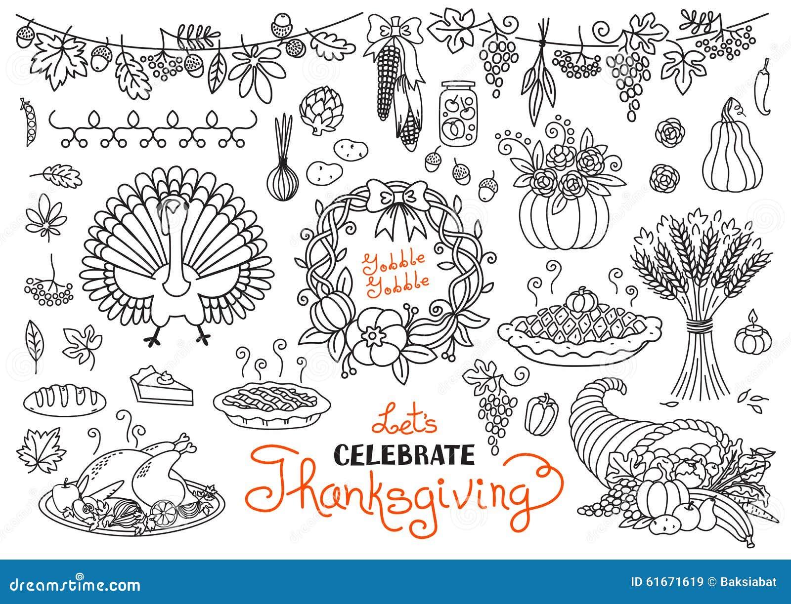 thanksgiving day doodles collection vector illustration cartoondealer com 79251288 cornucopia clipart free cornucopia clipart black and white
