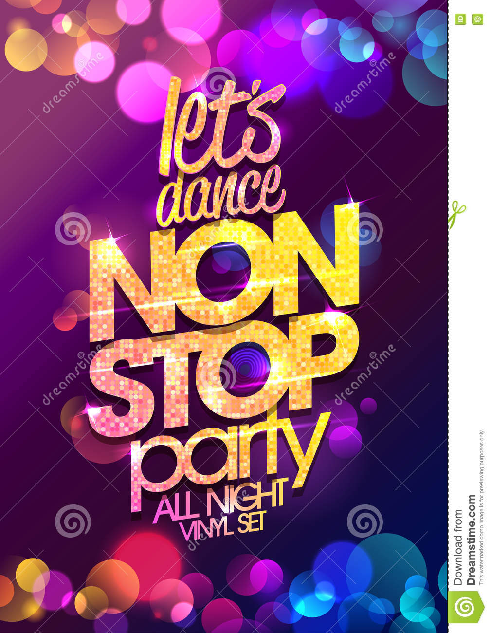 Let`s Dance Non Stop Party All Night Vector Poster Design ...