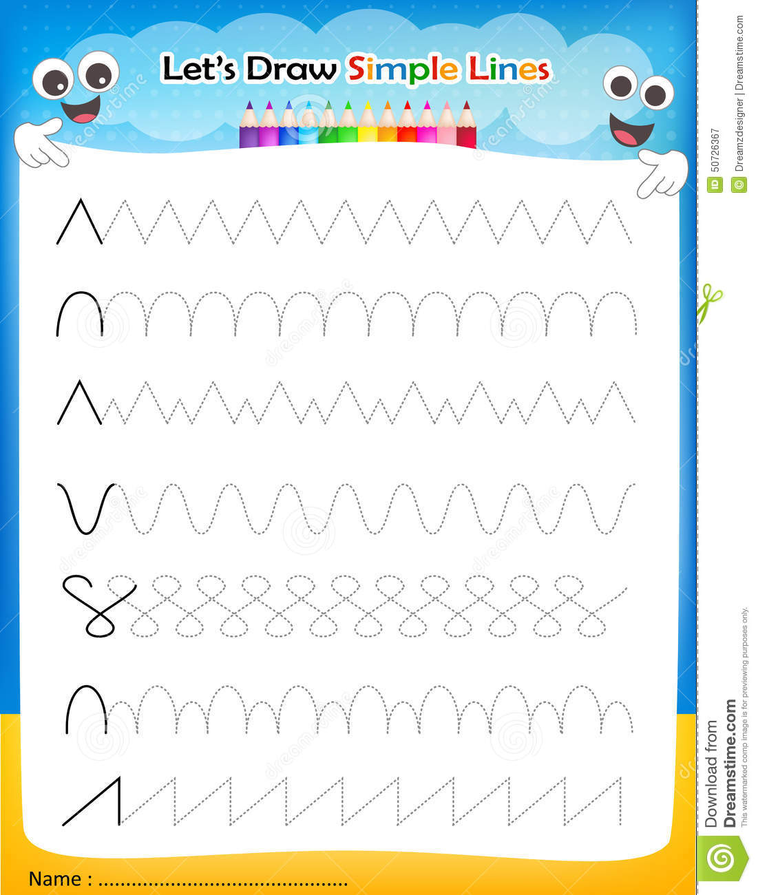 draw simple lines printable worksheet for preschool / kindergarten ...