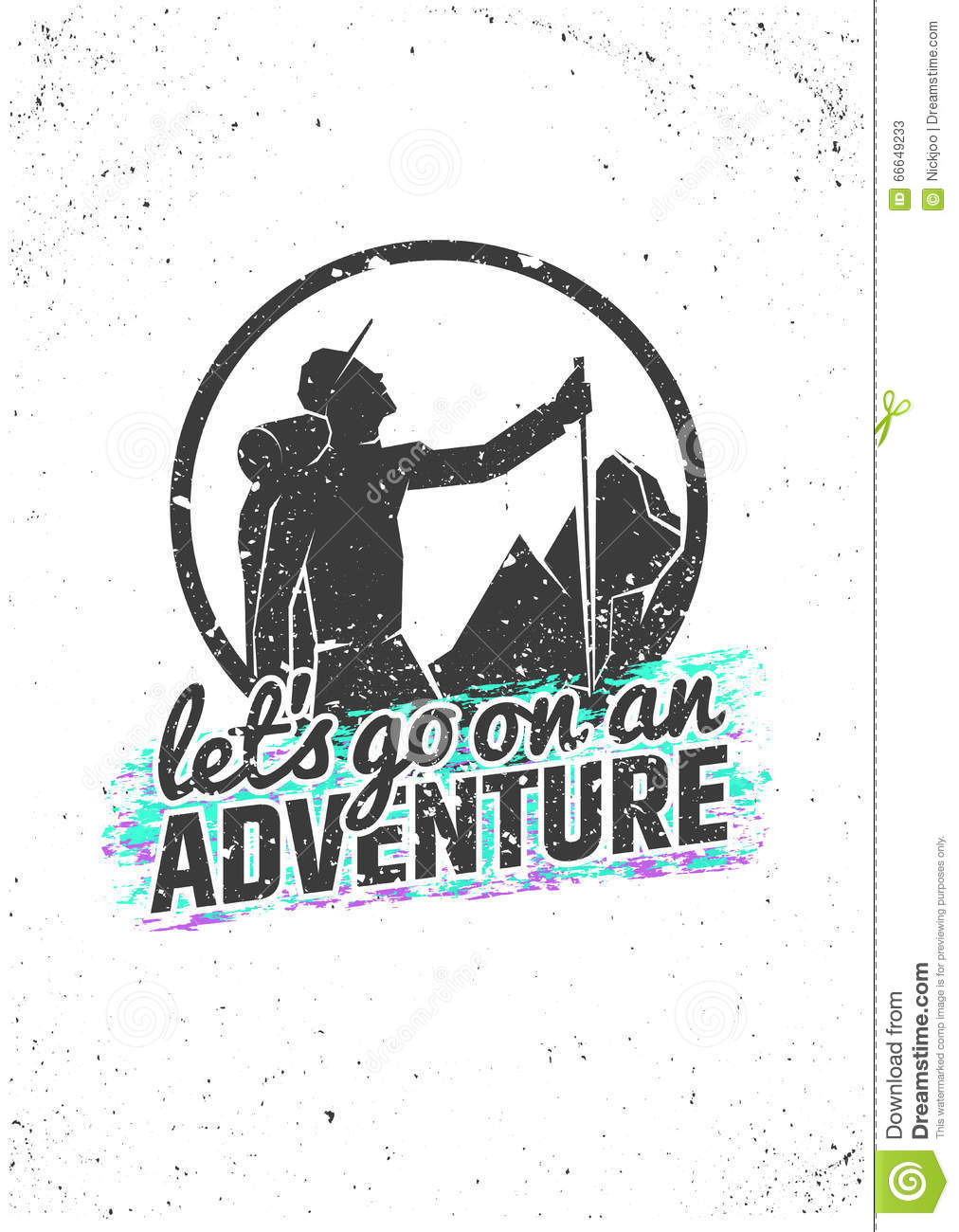 d7c062605021 Let's go on an adventure. Hiking inspirational poster on grunge background.  Vector typographic concept for t-shirt print, greeting and postal cards