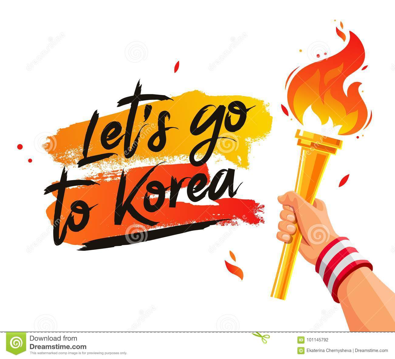 Let`s Go To Korea. Torch In The Hand Stock Vector - Illustration of ... for Sports Torch With Hand  186ref