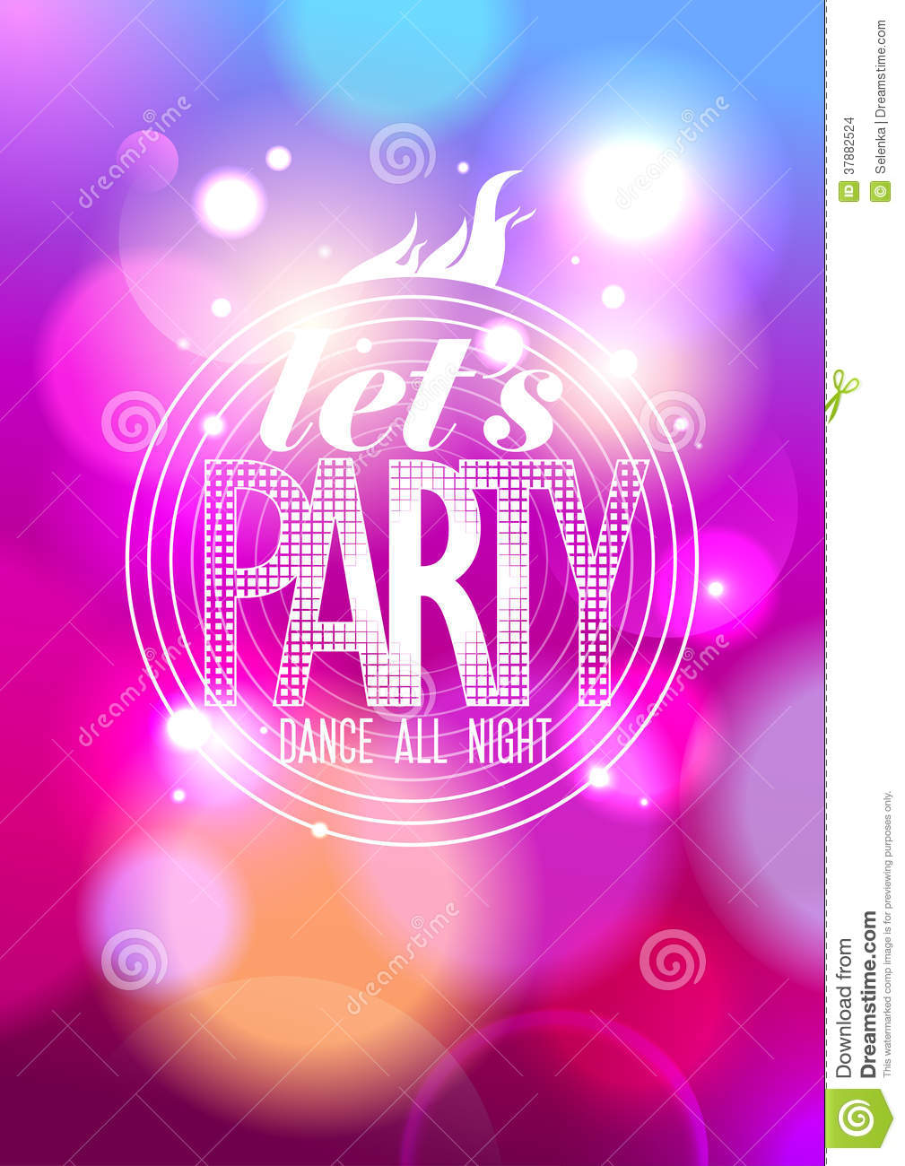 Let`s Party, Dance All Night Design. Stock Vector ...