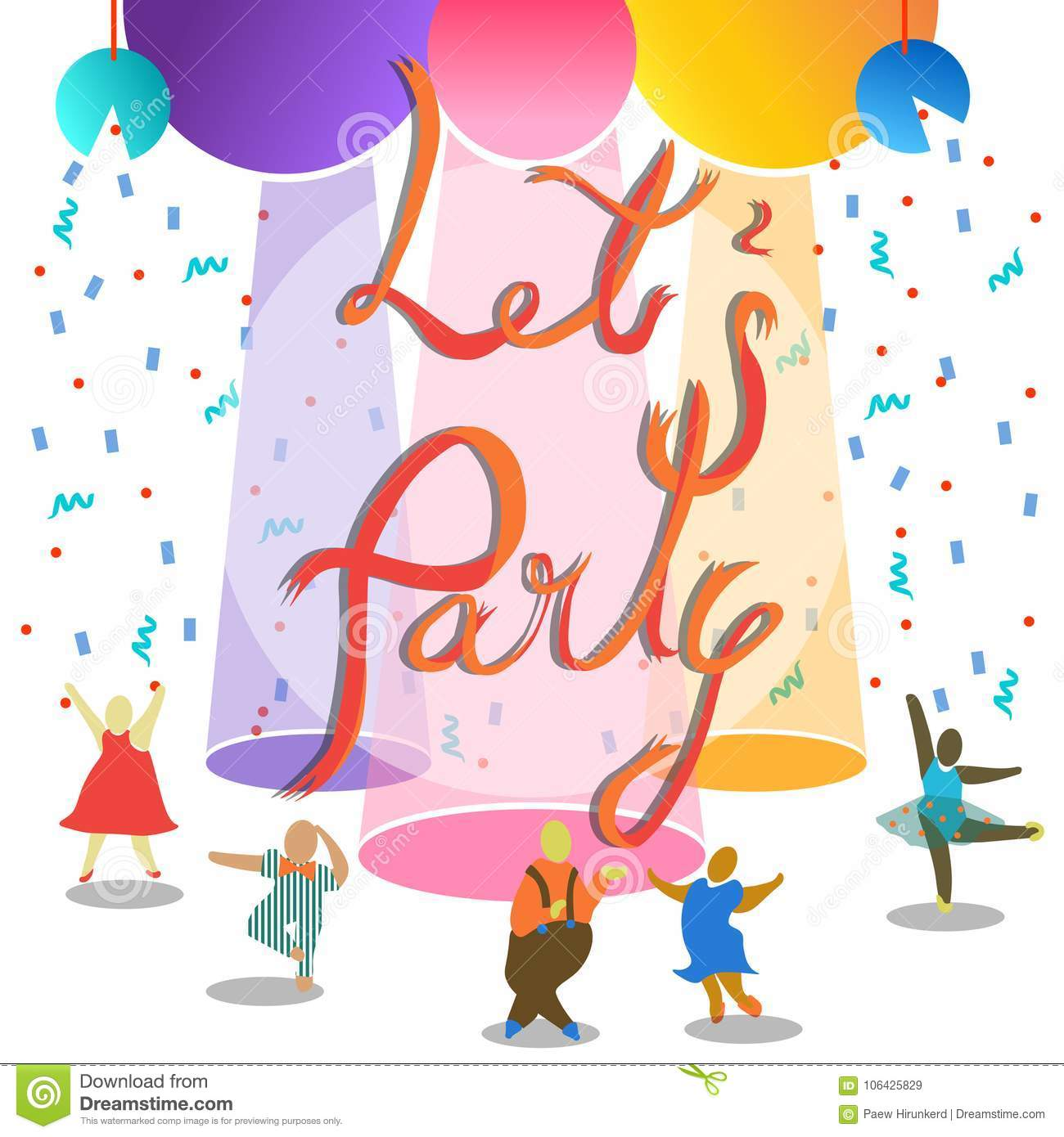 Let`s party in ribbon text