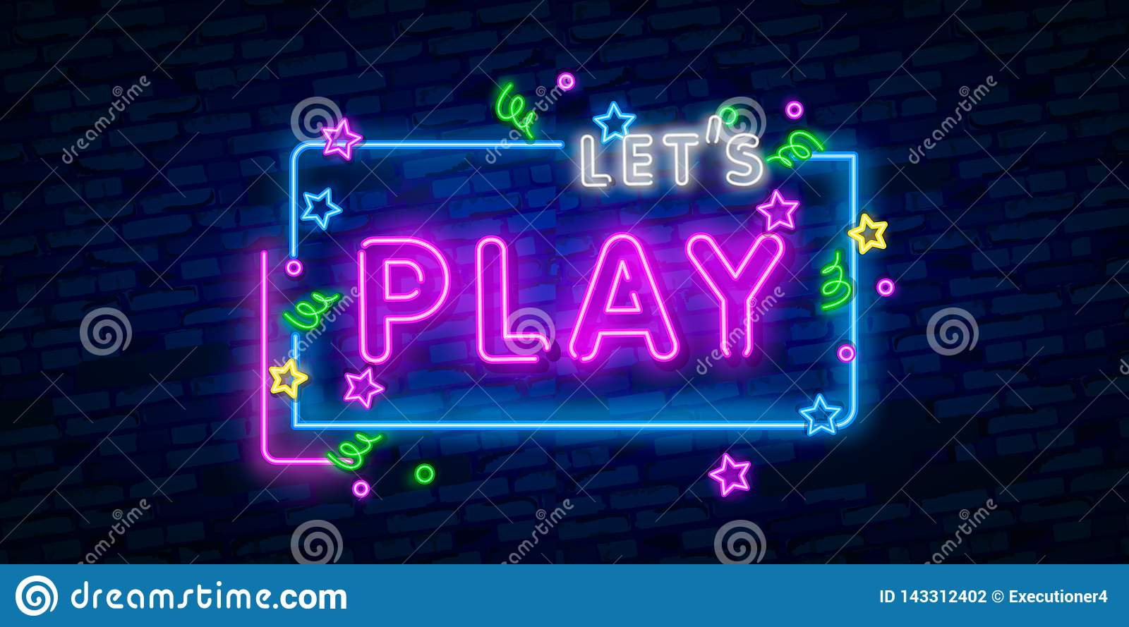 Let`s Play neon sign, bright signboard, light banner. Game logo, emblem and label. Neon sign creator. Neon text edit