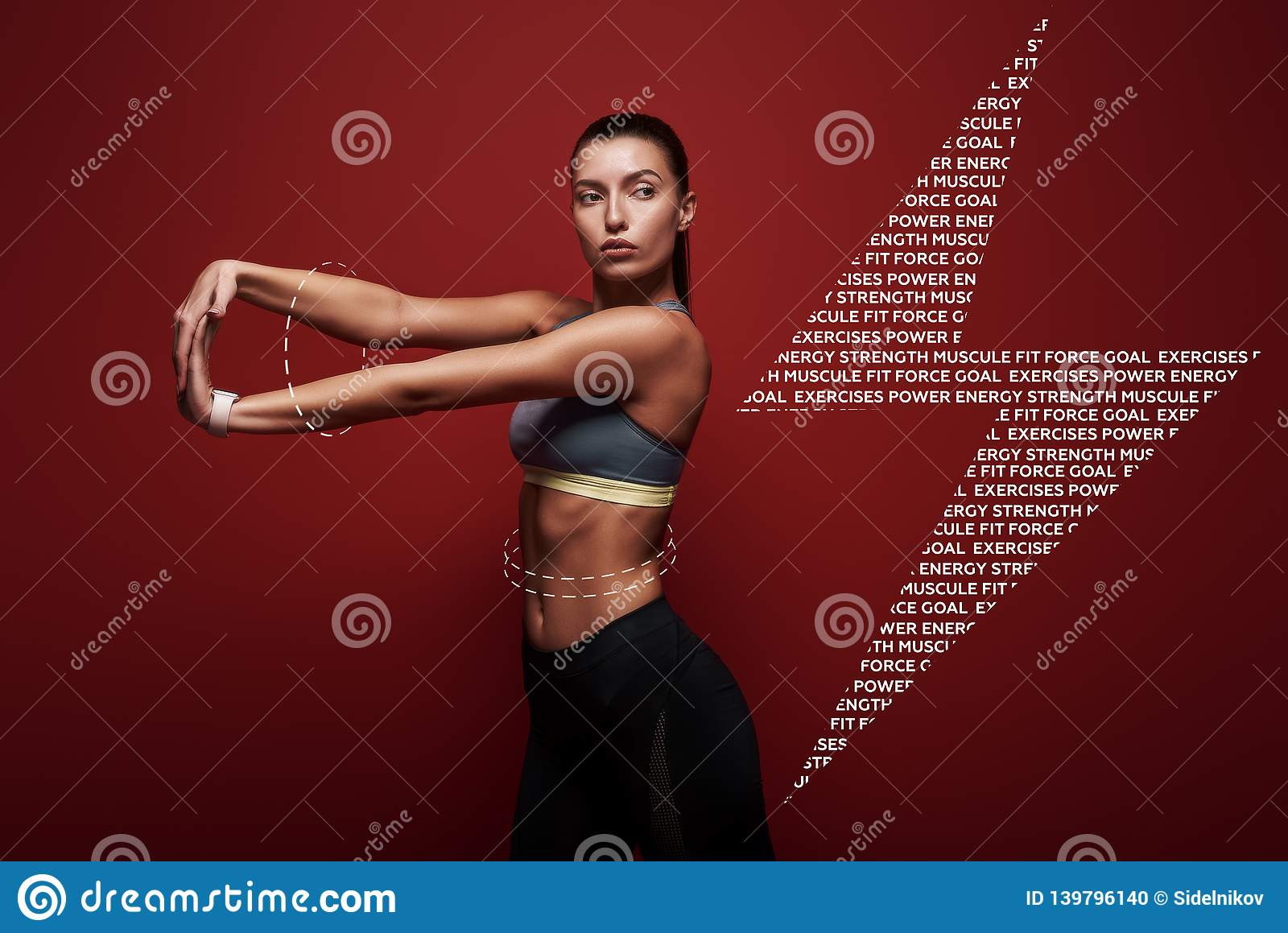 Let`s stretch Sportswoman standing over red background, stretching her arms. Graphic drawing.