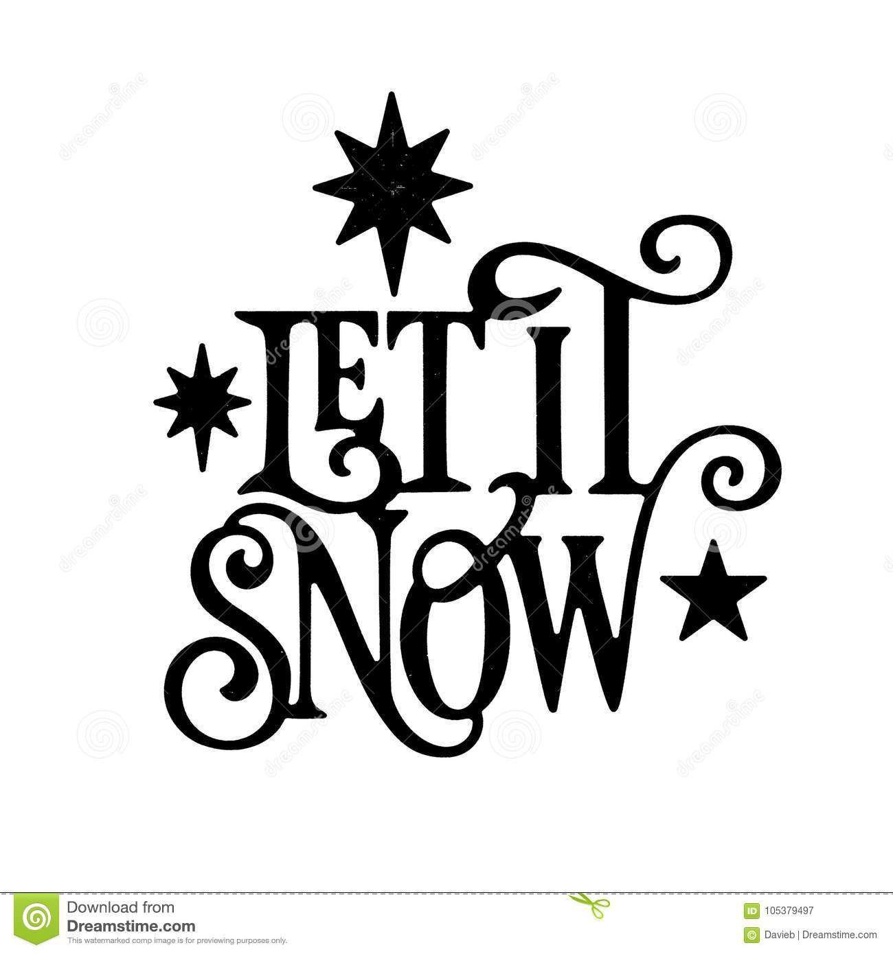 Christmas Silhouette.Let It Snow Christmas Wordart Stock Illustration