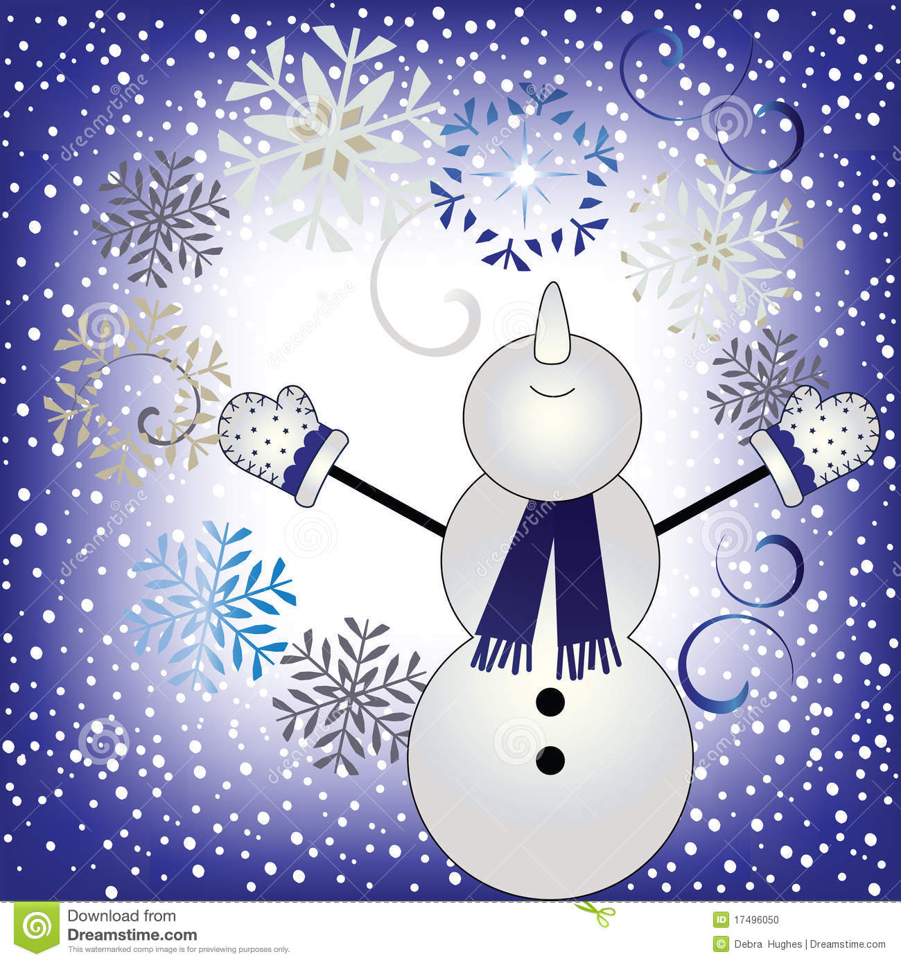 Snowing christmas decoration let it snow - Let It Snow Happy Snowman In Snowfall Stock Photo