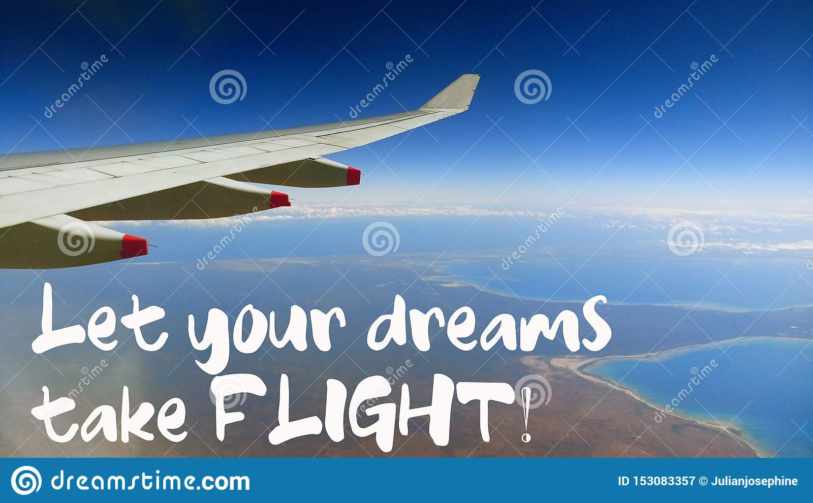 let your dreams take flight quote beautiful view of wing of