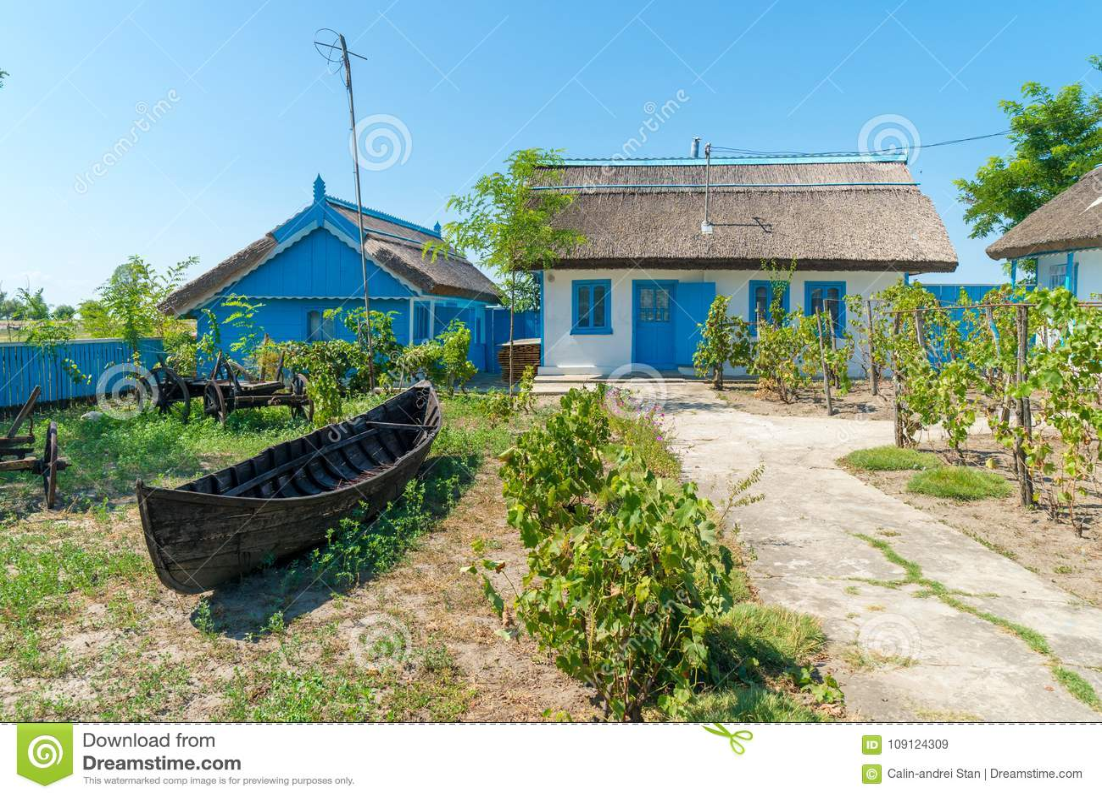 Letea, Danube Delta, Romania, August 2017: Traditional House in