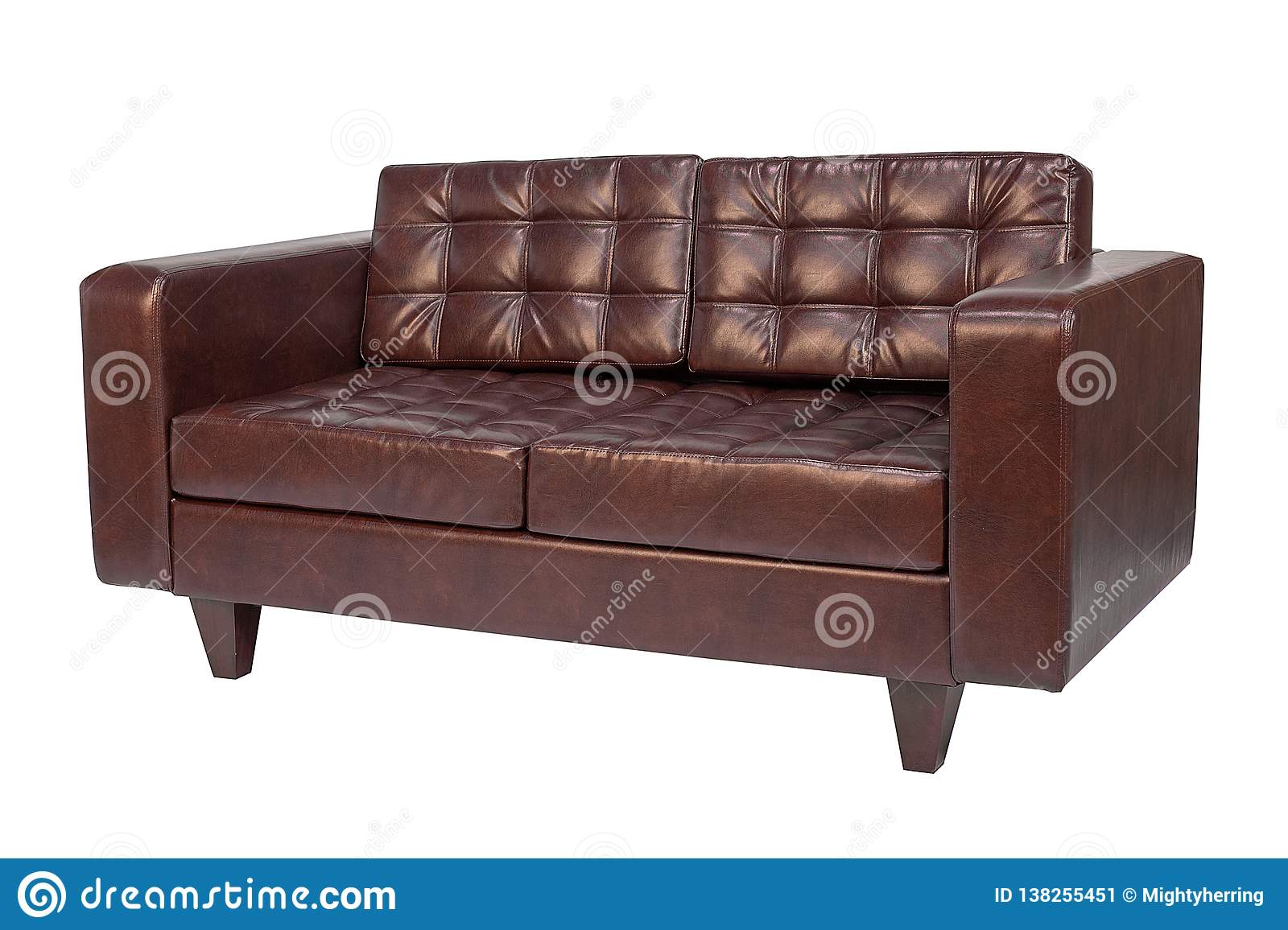 Leather Office Sofa Isolated On White Background Stock Image