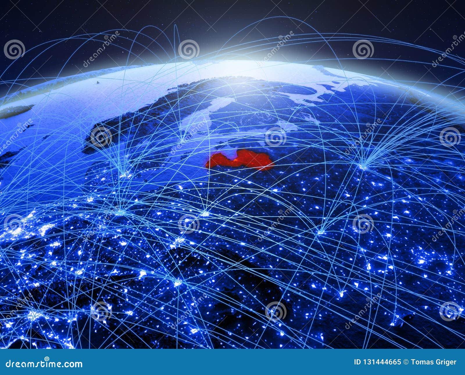 Letland op blauwe digitale aarde met internationaal netwerk die mededeling, reis en verbindingen vertegenwoordigen 3D Illustratie