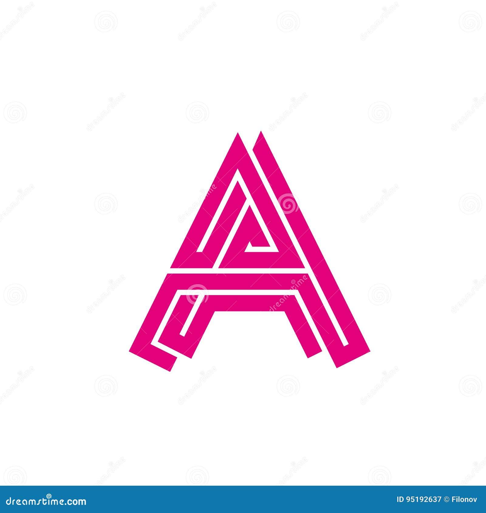 Letra abstracta A - laberinto del logotipo Logotipo creativo para la identidad corporativa de la letra A de la compañía de las lí