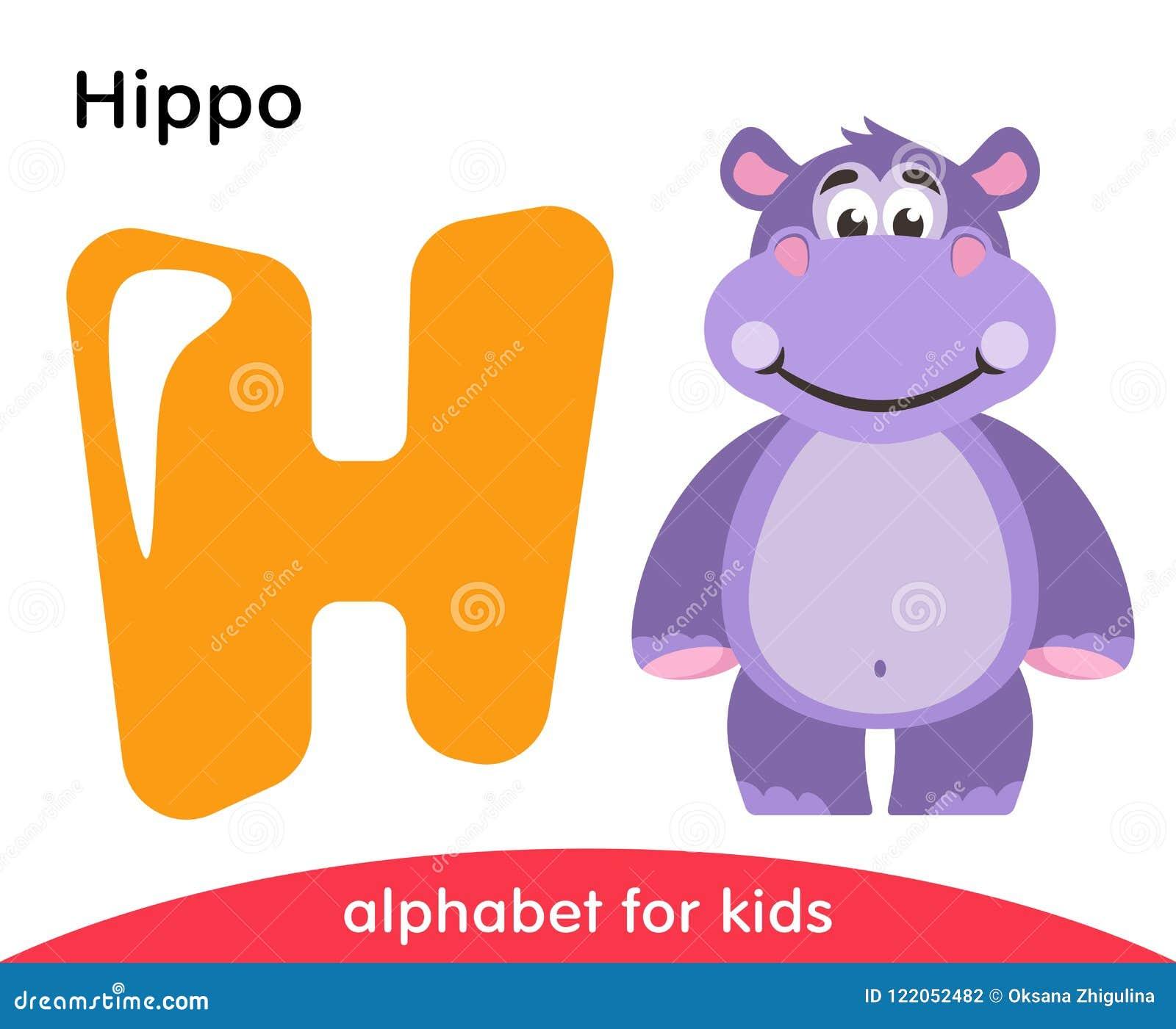 Letra amarela H e hipopótamo violeta