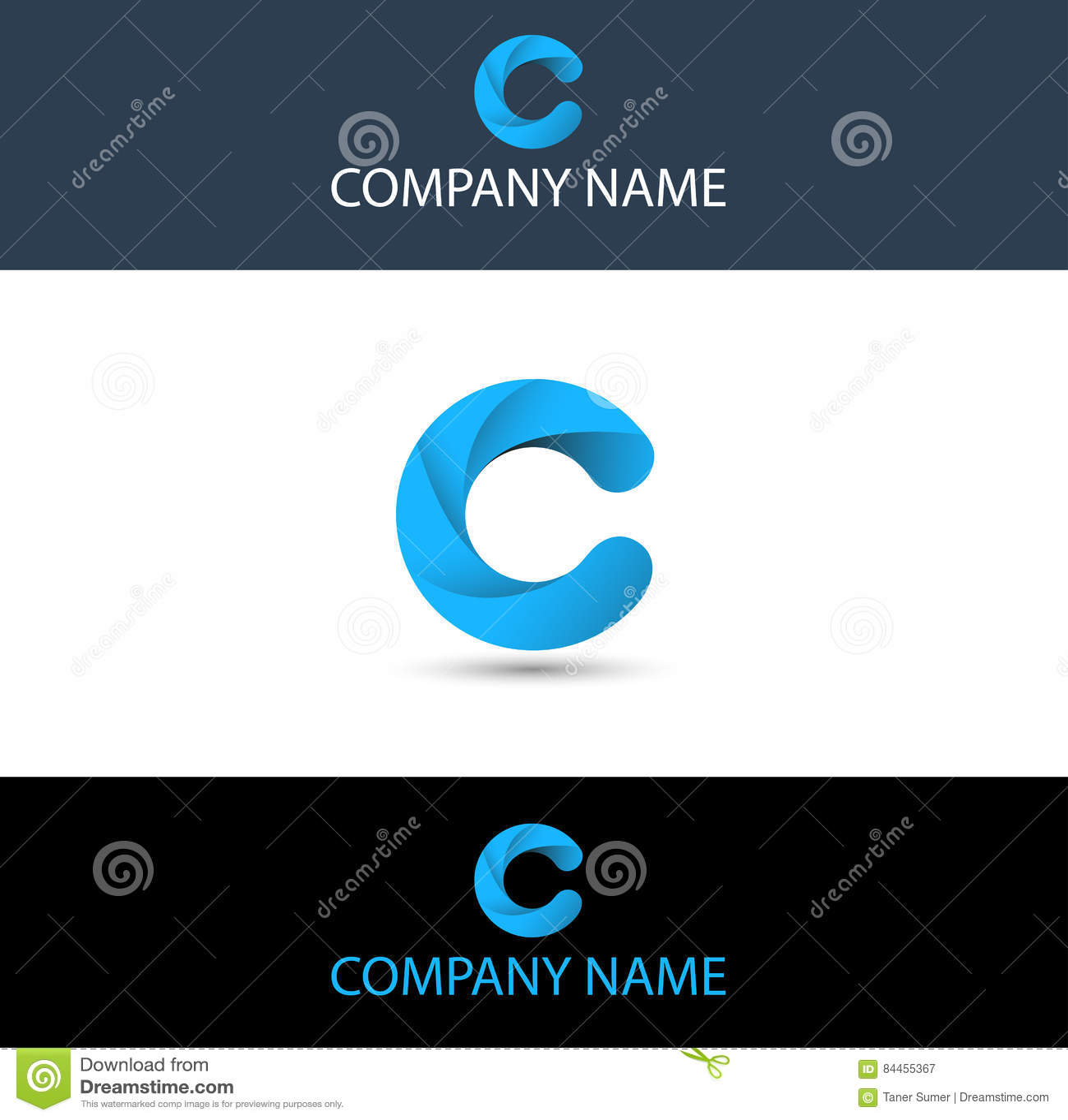 Letra Azul Simple C Logo Theme Ilustración del Vector - Ilustración ...