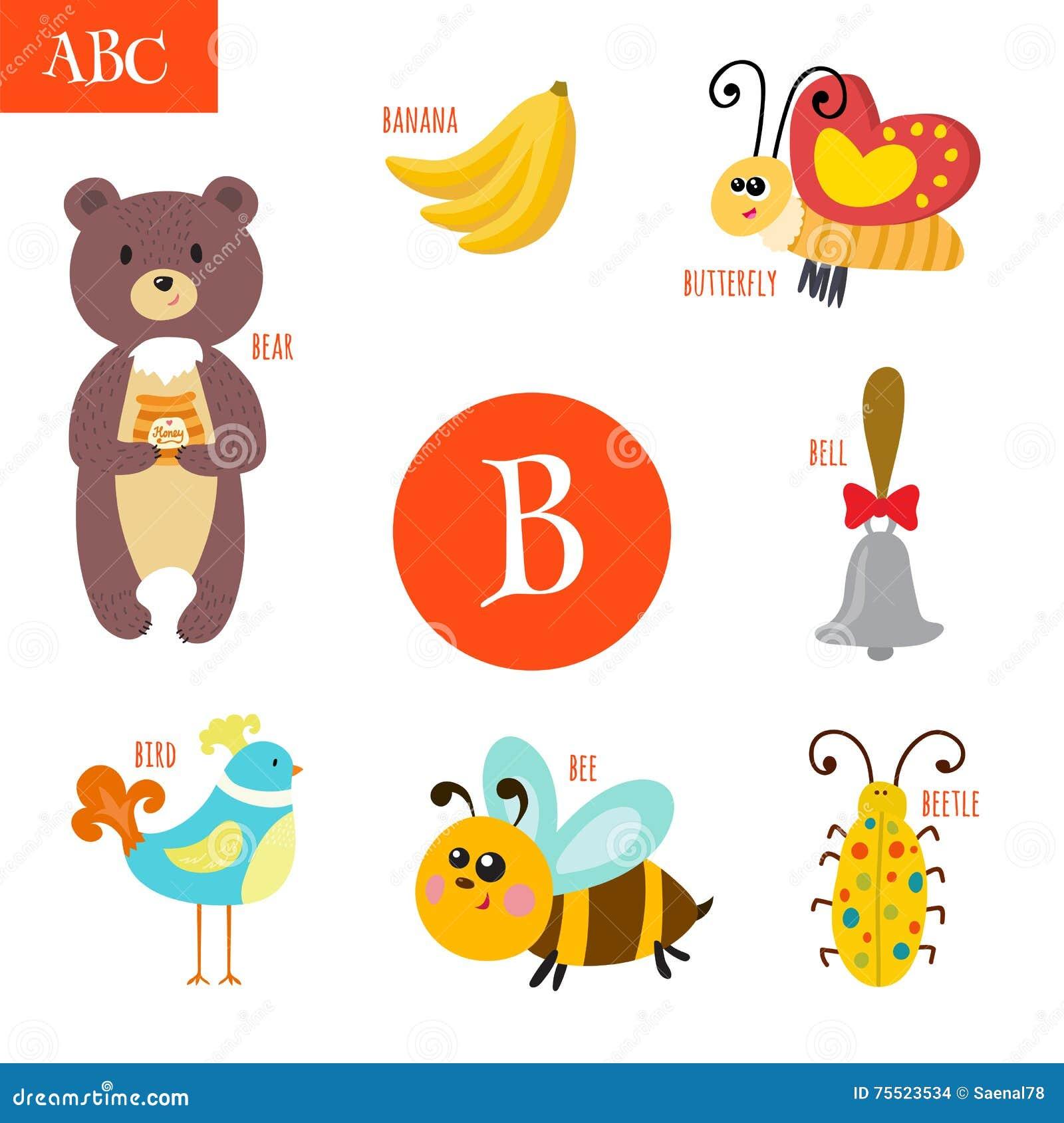 letra b alfabeto dos desenhos animados para crianças urso abelha